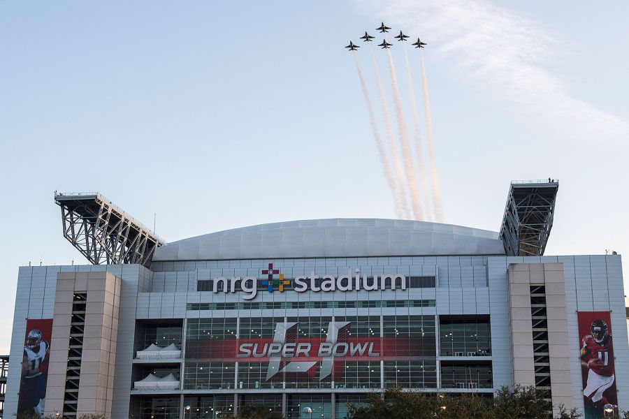 The United States Air Force Thunderbirds conduct a flyover of Super 51 at NRG Stadium in Houston, Texas back in 2017.