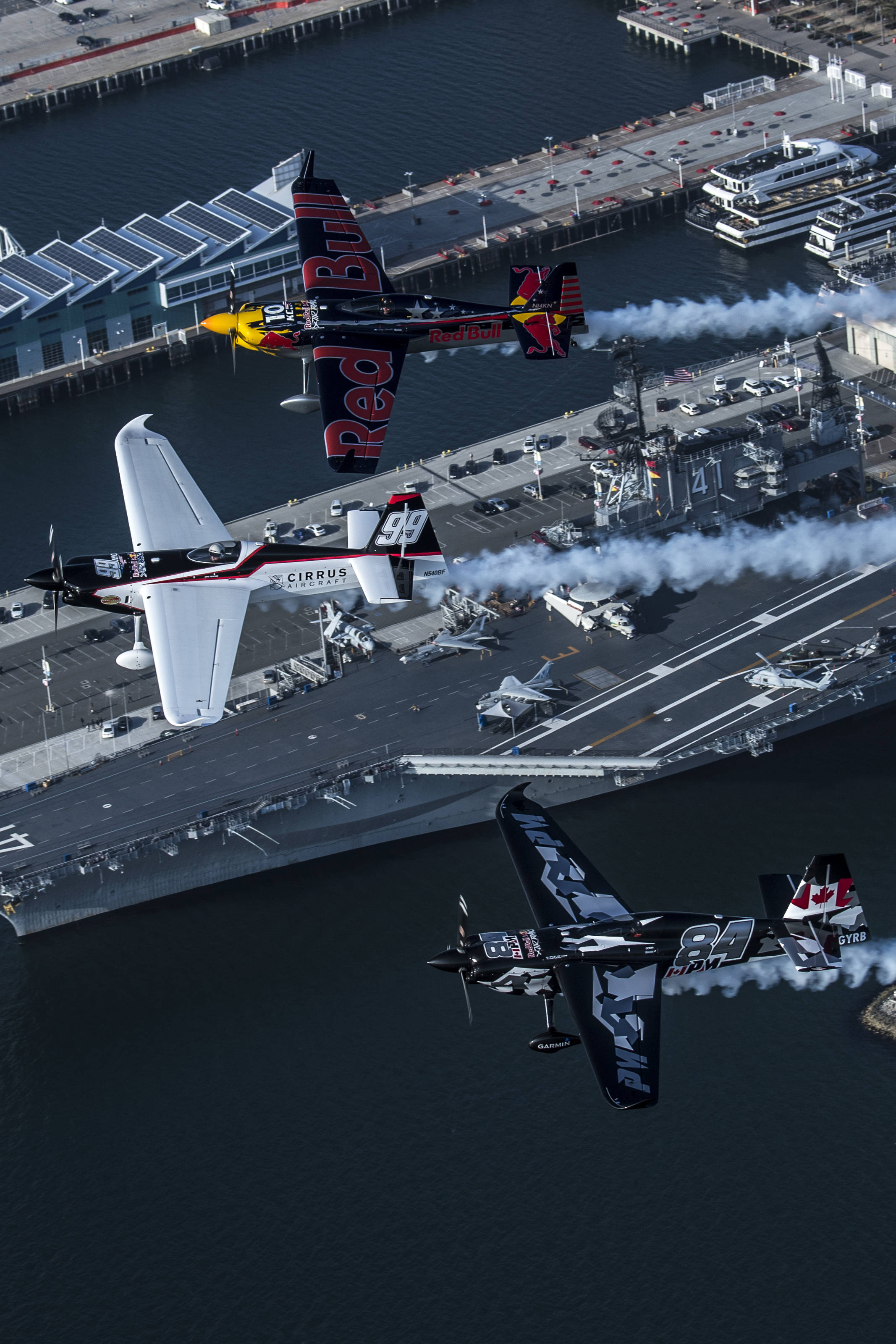 The three North American Red Bull Air Race pilots fly together above San Diego back in April of 2017.