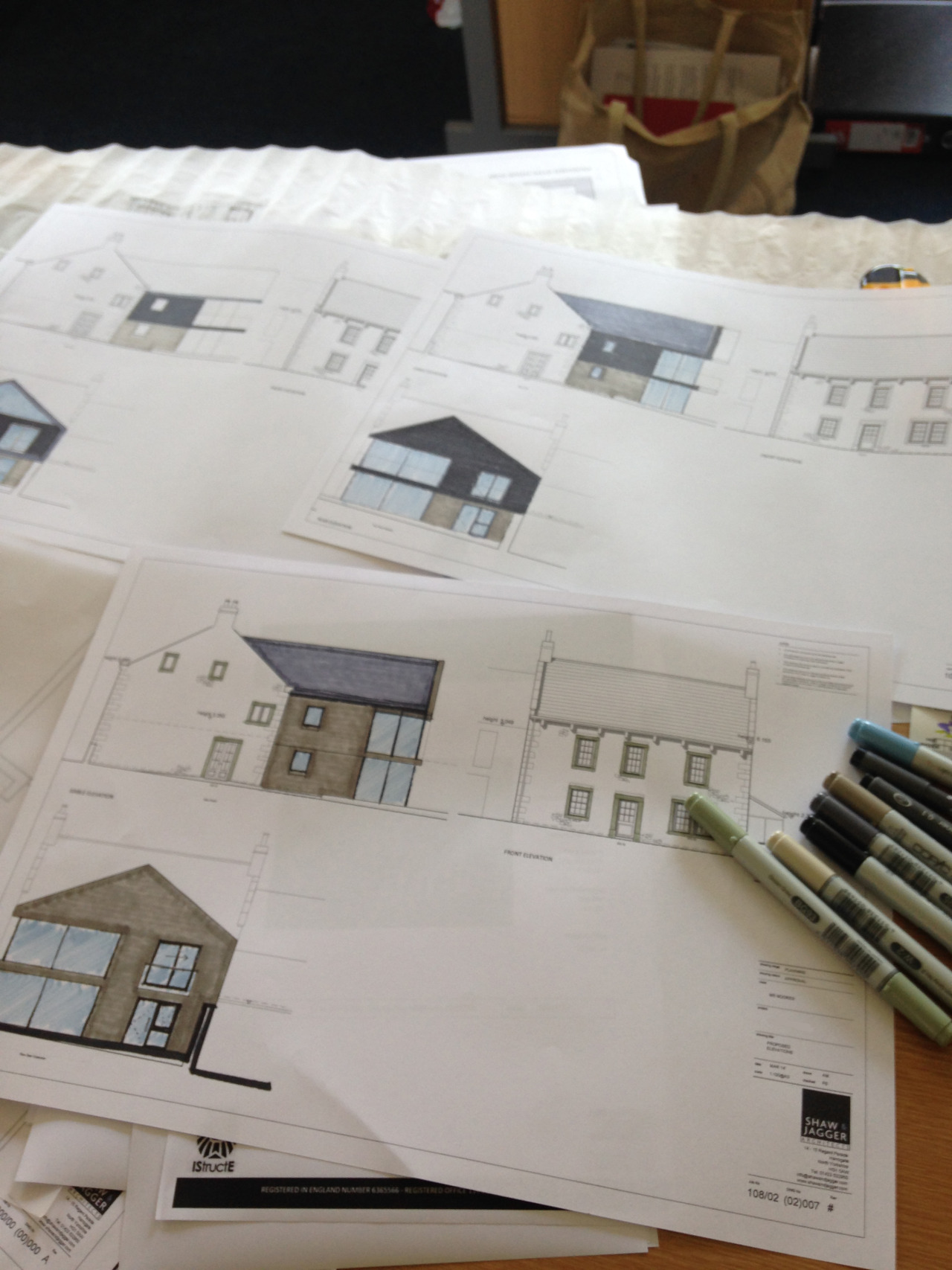 On My Desk Today: Mostly working on a new build extension to a farm complex in Lancashire, sketching out some initial ideas over the existing elevations.