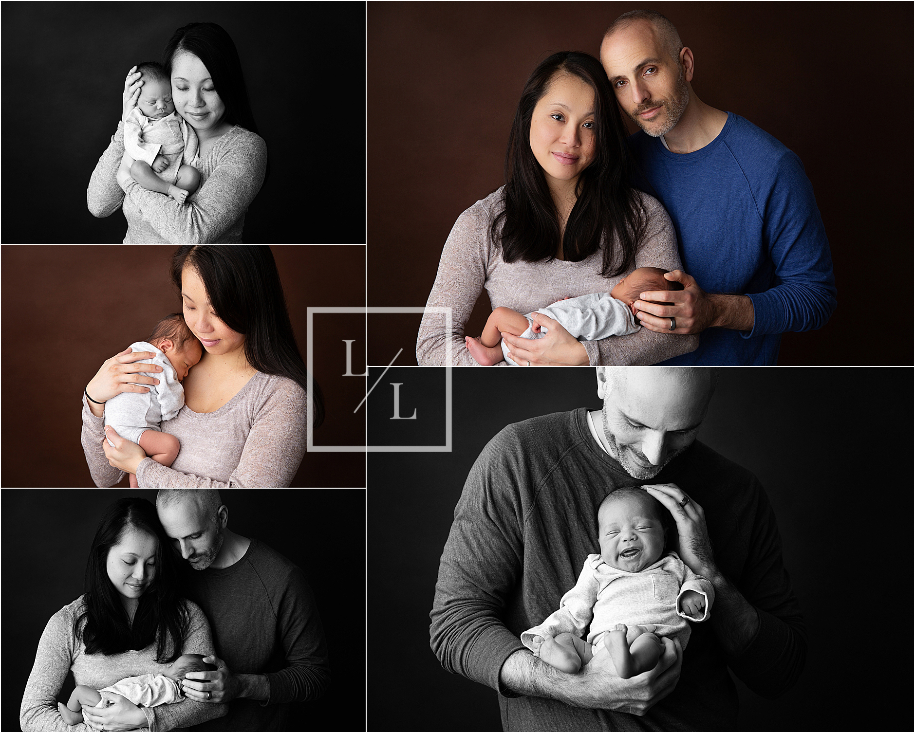 Family of Three Newborn Studio Pictures on Brown.jpg