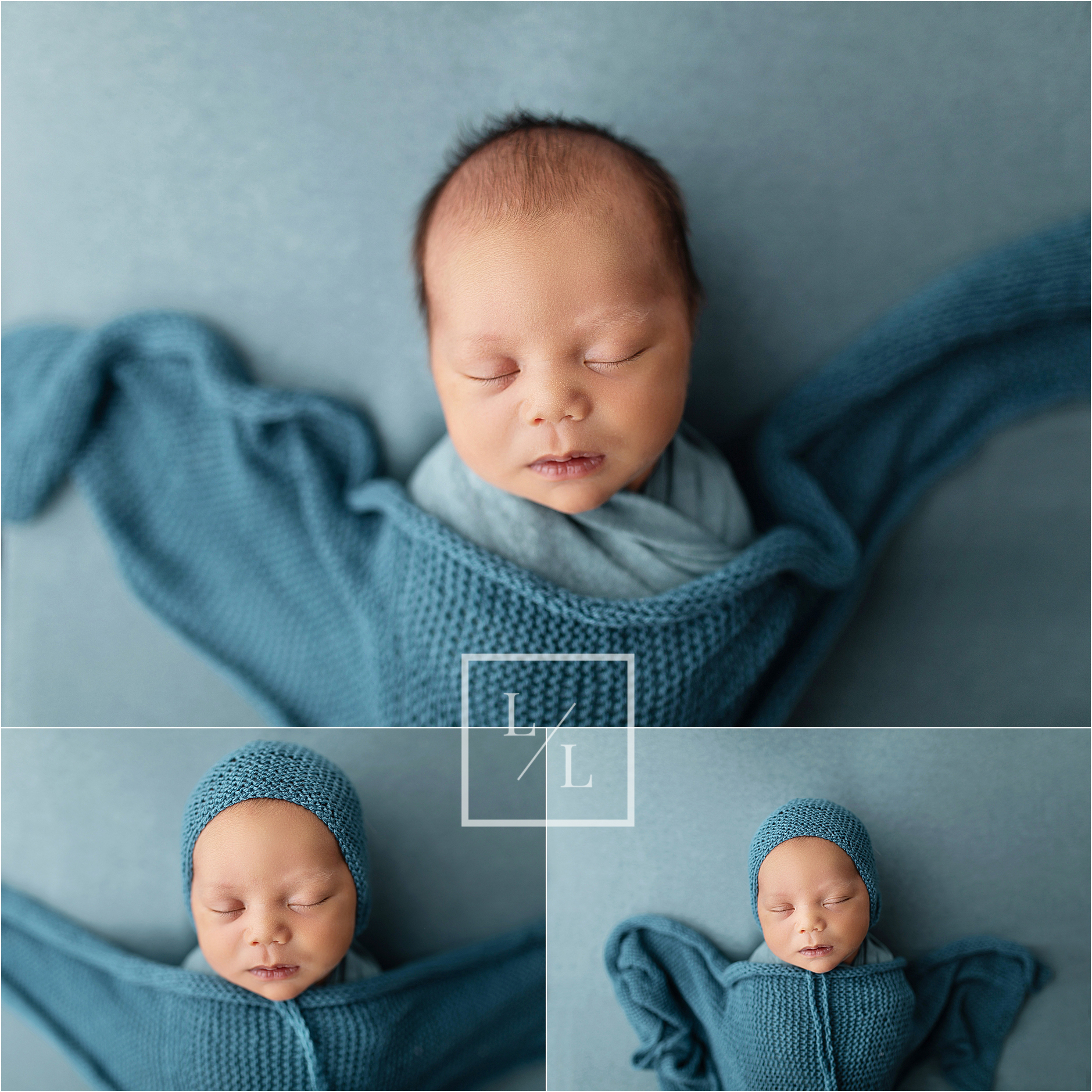 Newborn Baby Boy Pictures on Teal Backdrop.jpg