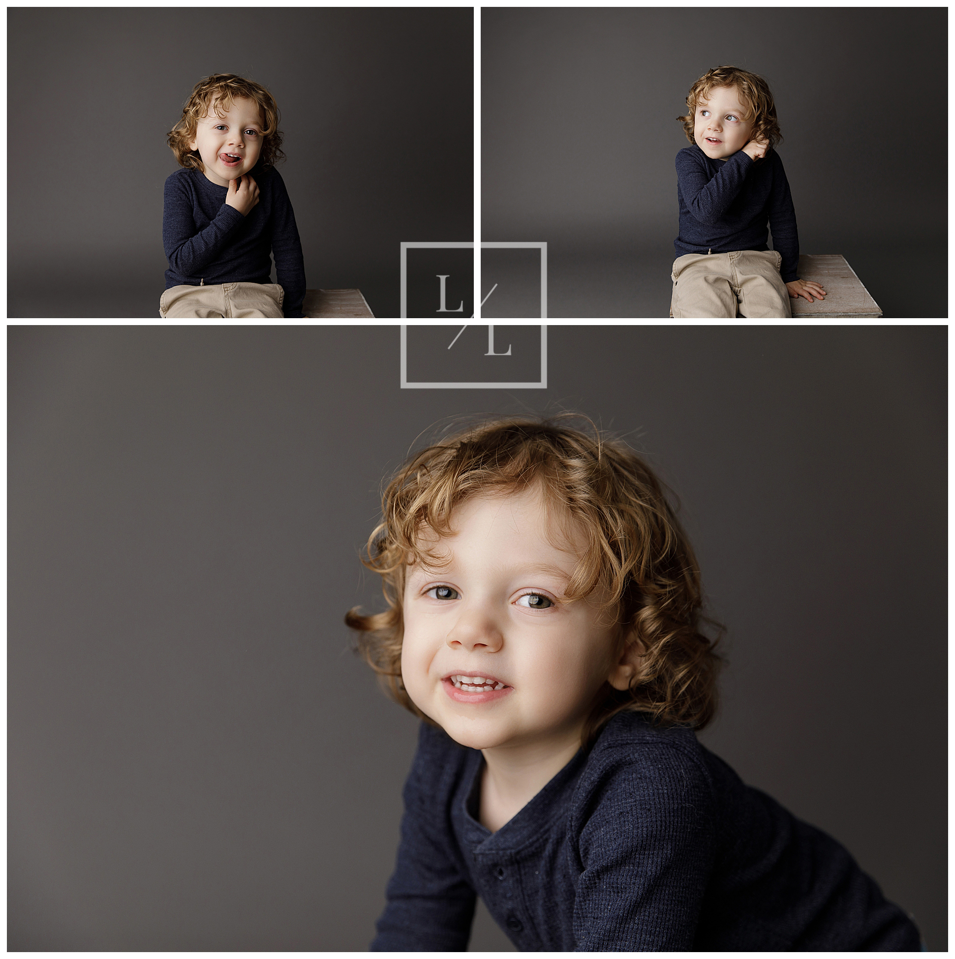 Portrait of a Toddler on a grey backdrop