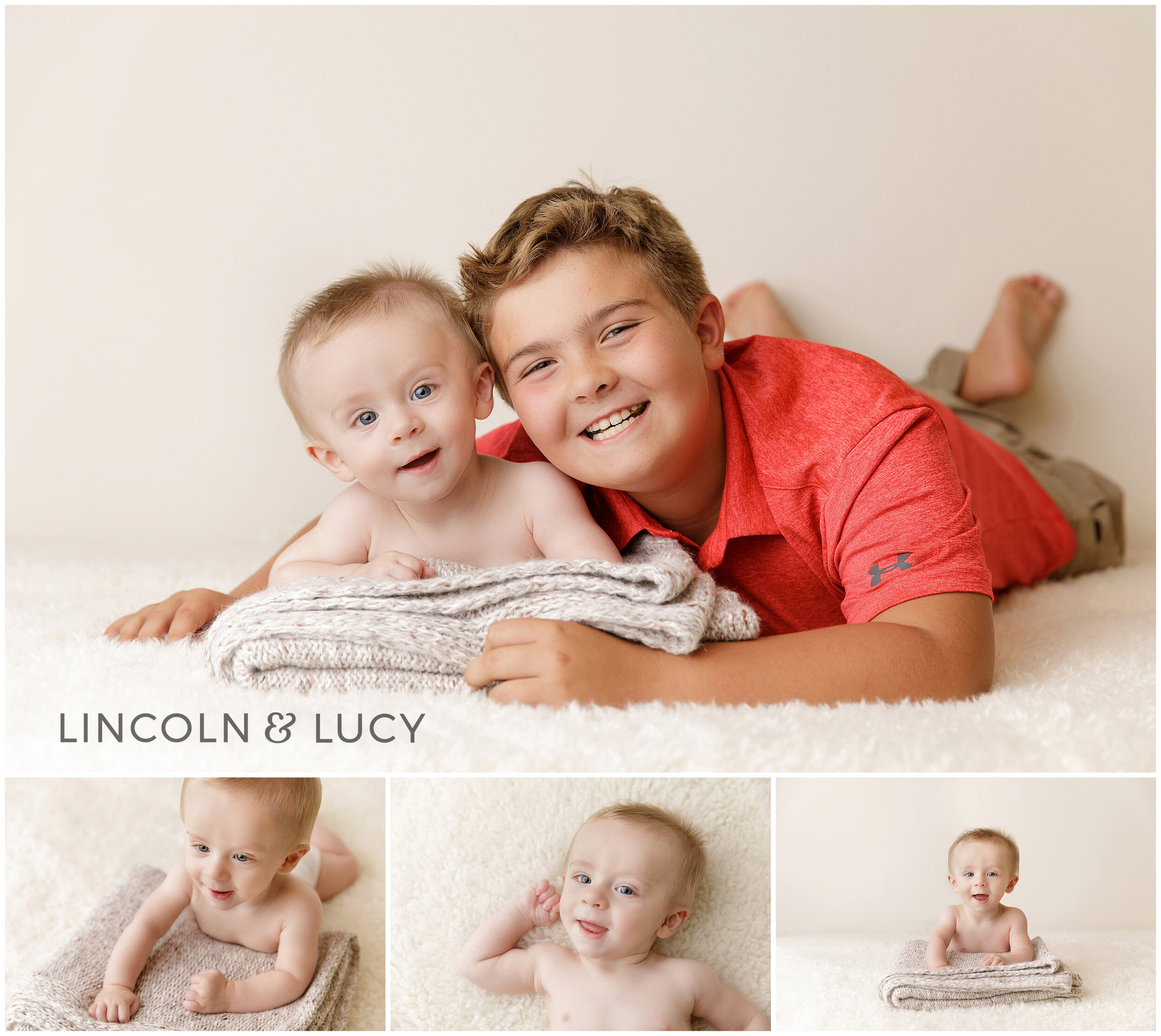 6 month old baby picture with sibling