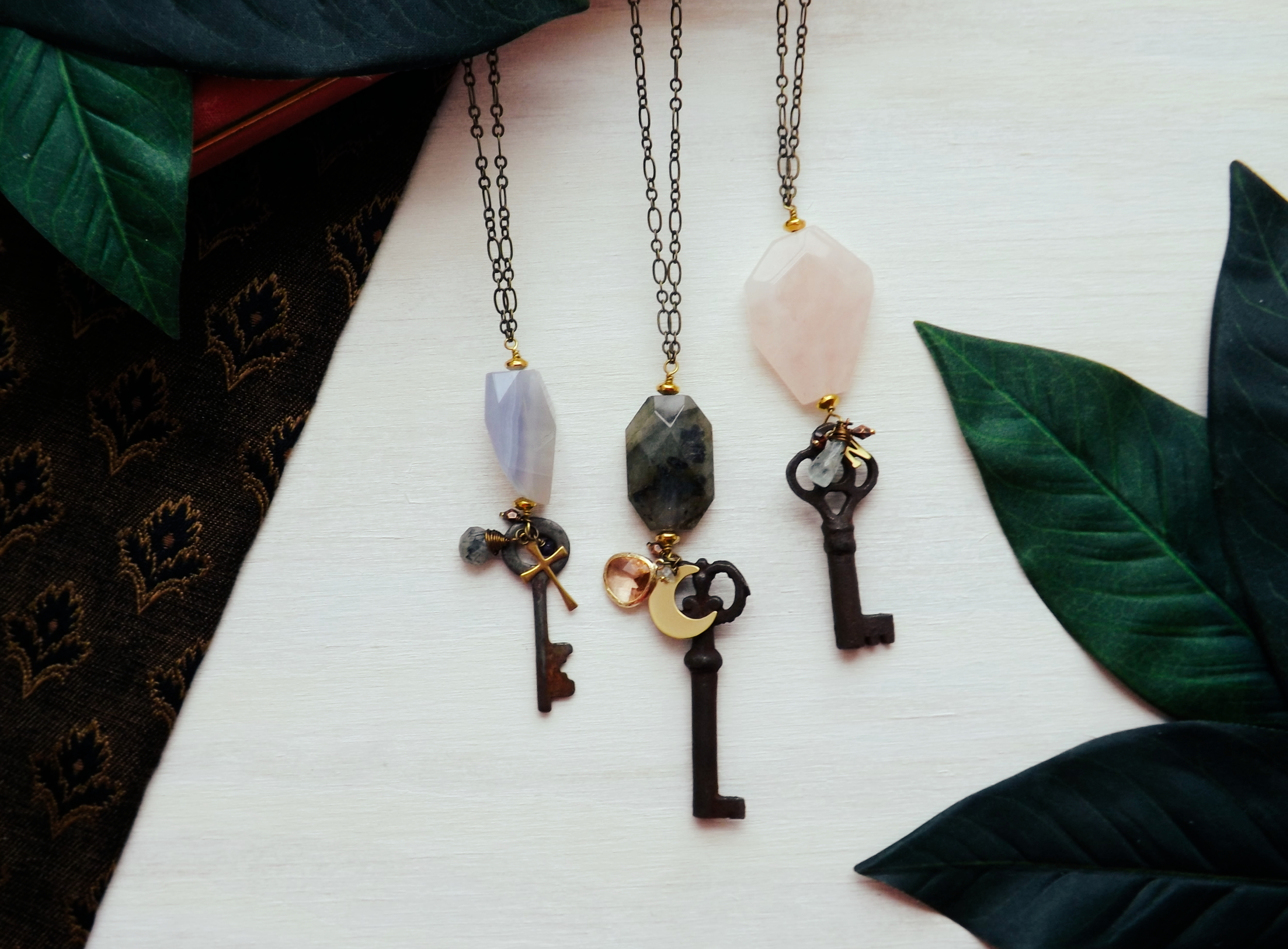 Click here to take a closer look at our Ask, Seek, Knock antique skeleton key necklace ($44).
