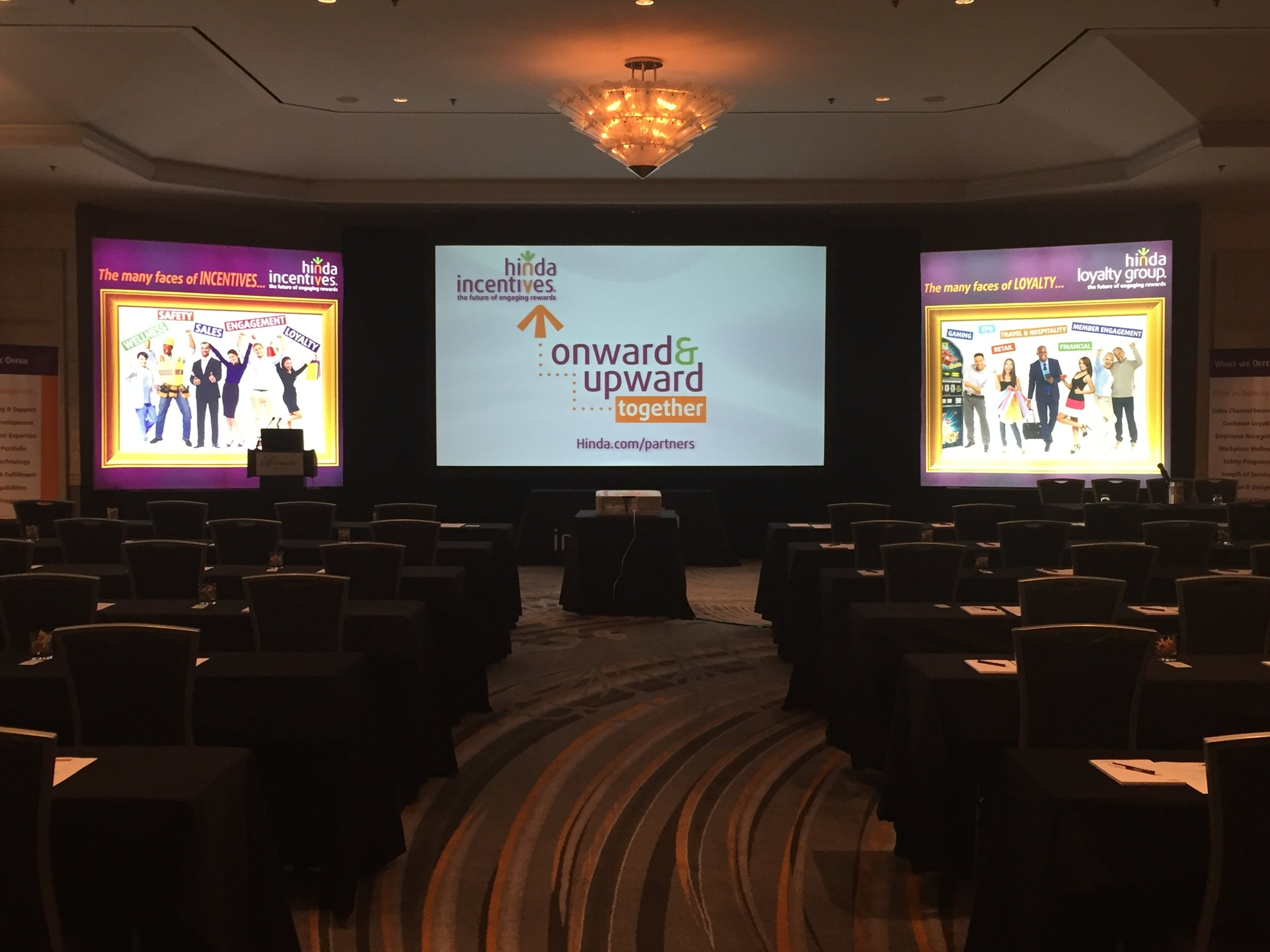 Monday's setup in the Gold Room all ready for the summit to begin!