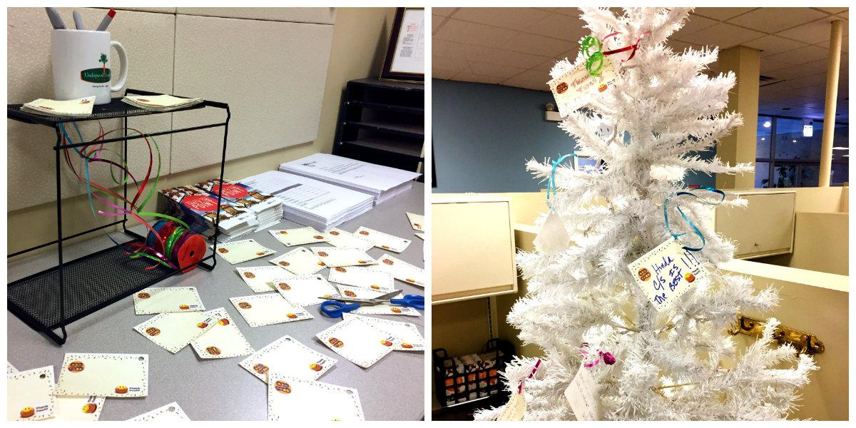 Hinda's appreciation tree setup in the customer service department