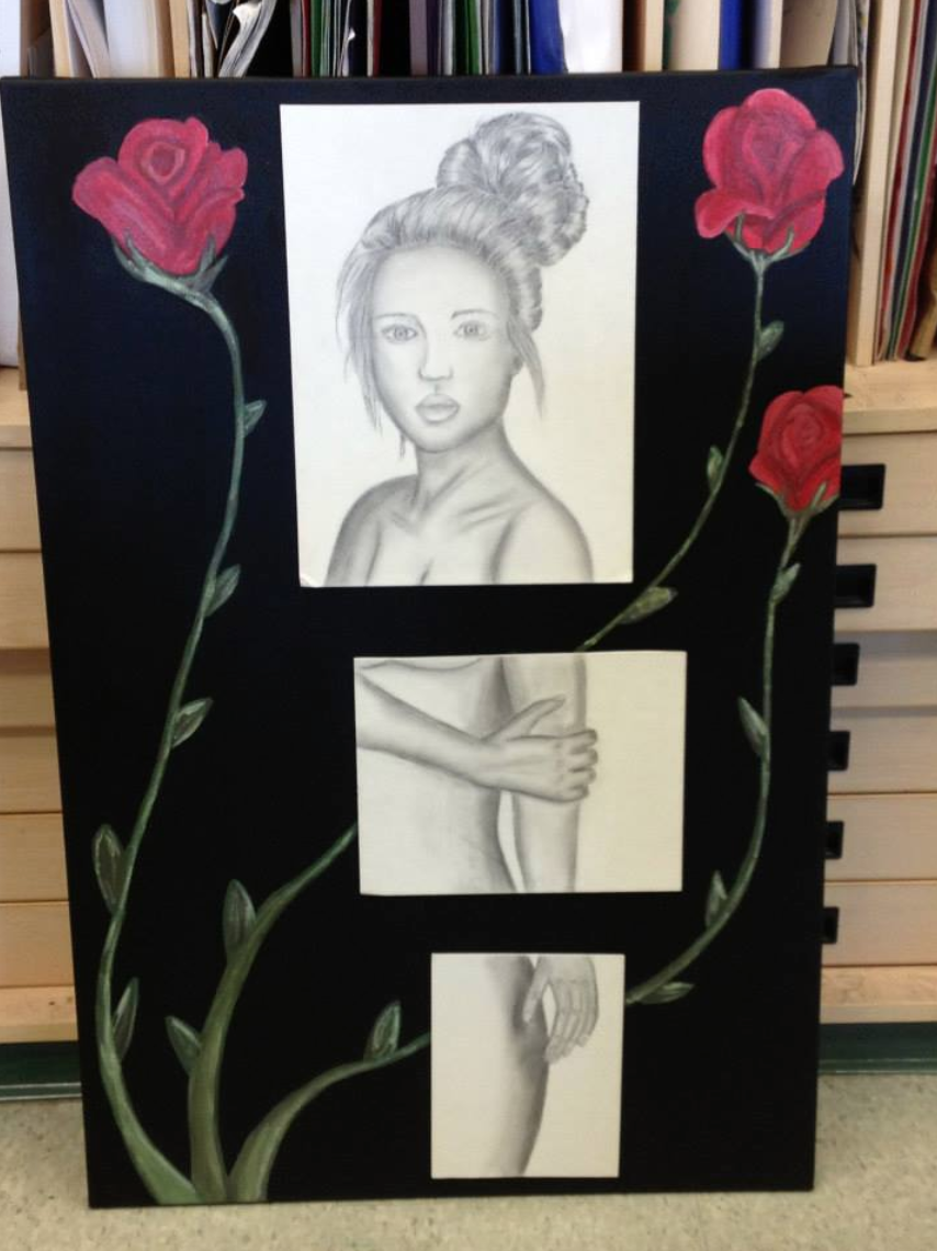One of my pieces from high school, the first feminine-type of art I had made