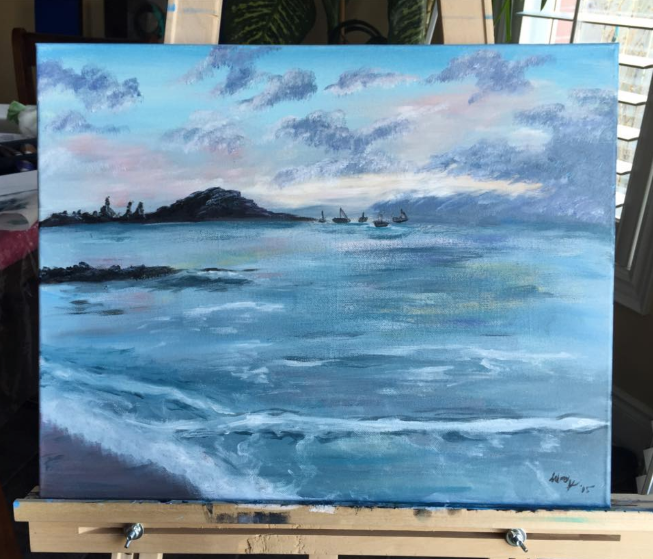 I painted beaches and landscapes like this to escape in my mind for a little while. This one is a painting of Antigua