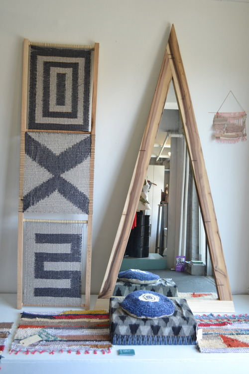 a collaborative piece of wood and weaving (image taken at  Trunk  in Brooklyn)