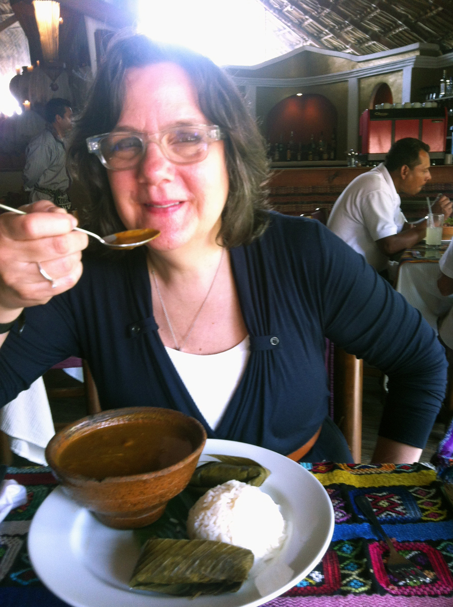 Ellen eating traditional Guatemalan food