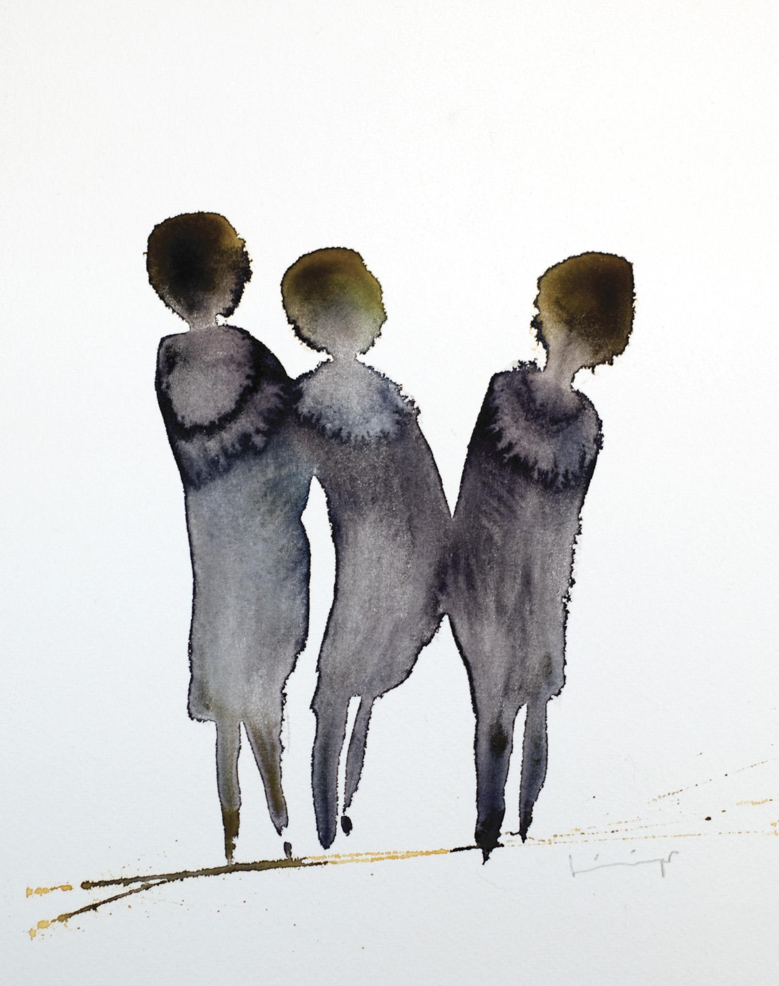 Figuriner akt V, akvarell