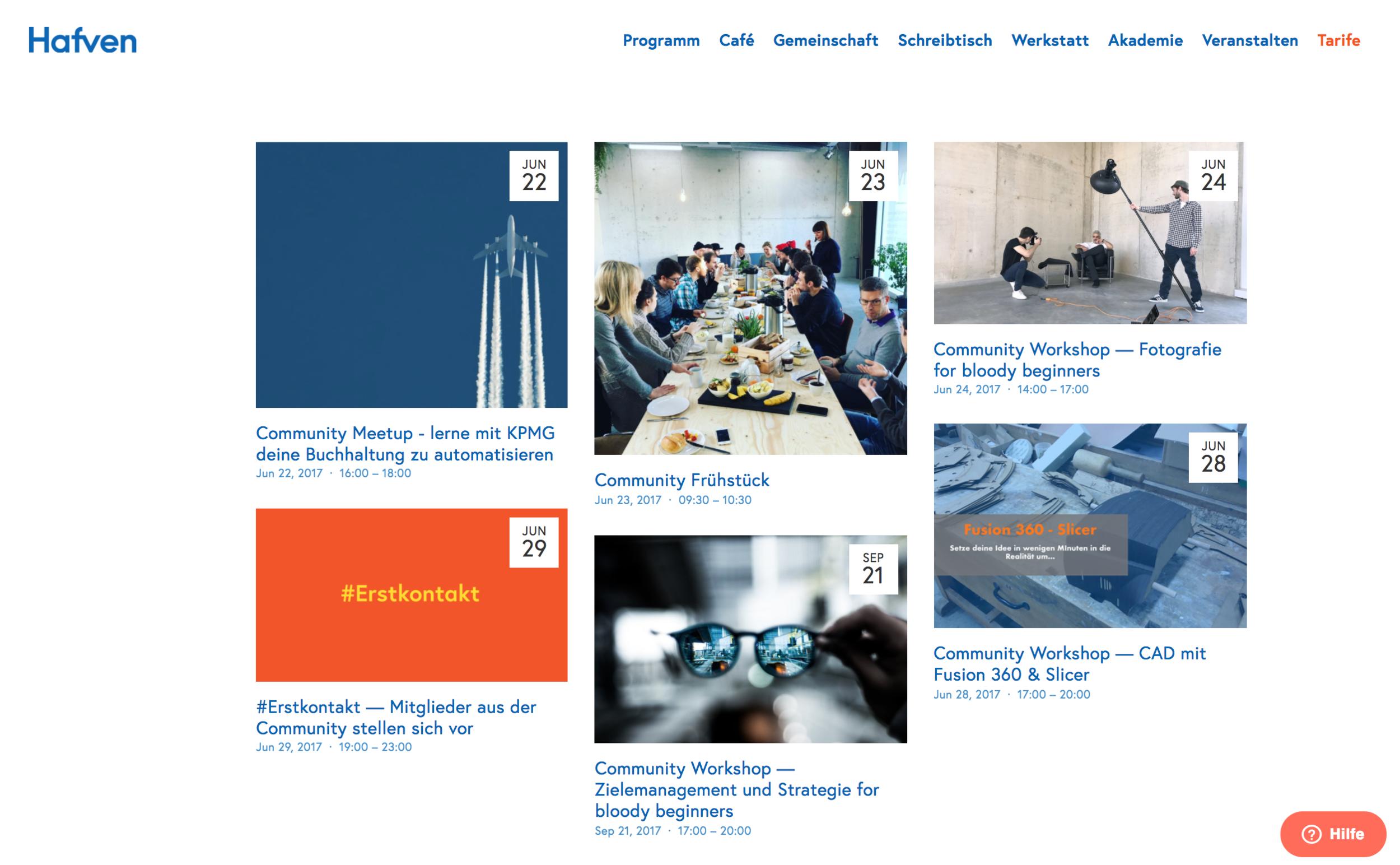 Auf der Website erstellen wir einen Eintrag im  Programm  mit einer kurzen Beschreibung. Das Hafven-Programm wird wöchentlich über den  Hafven-Newsletter  an eine wachsende Verteilerliste kommuniziert.  Reichweite aktuell über 1.000 interessierte Empfänger.