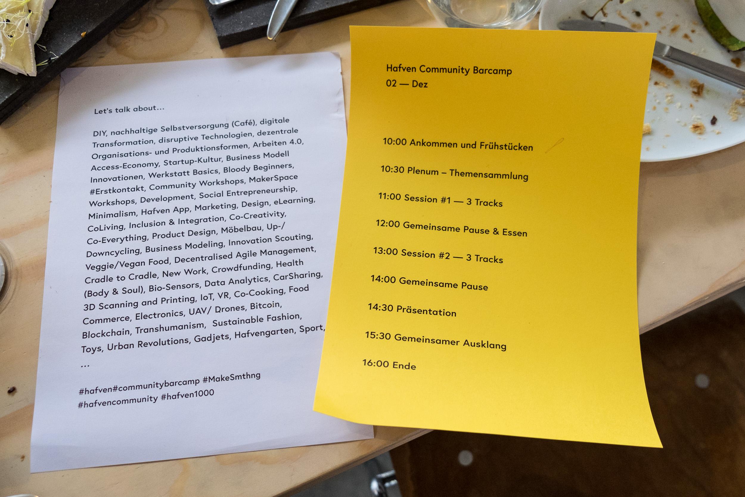 Der ambitionierte Zeitplan für den Ablauf des Barcamps wurde natürlich gerissen
