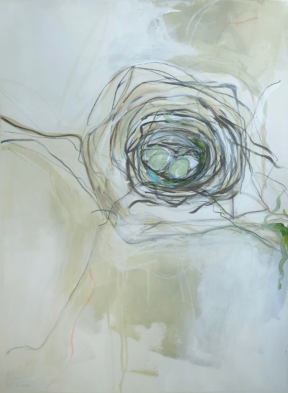 """Entwined""    $950 - Acrylic, graphite and pastels on paper, 22x30"" custom framed, SOLD"