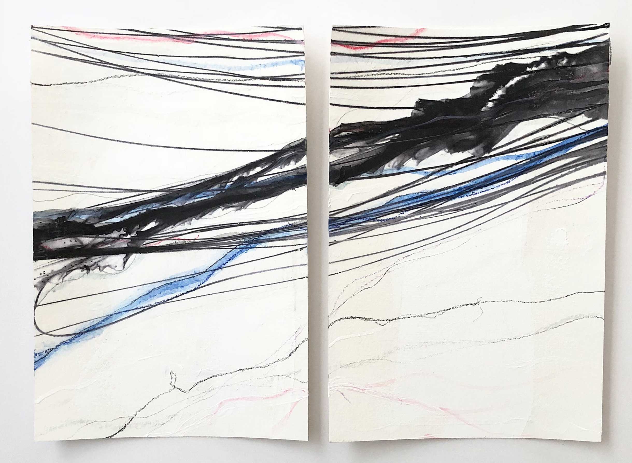 """""""Adrift II,"""" Diptych    Mixed Media on Paper, 18x,14"""" framed, SOLD"""