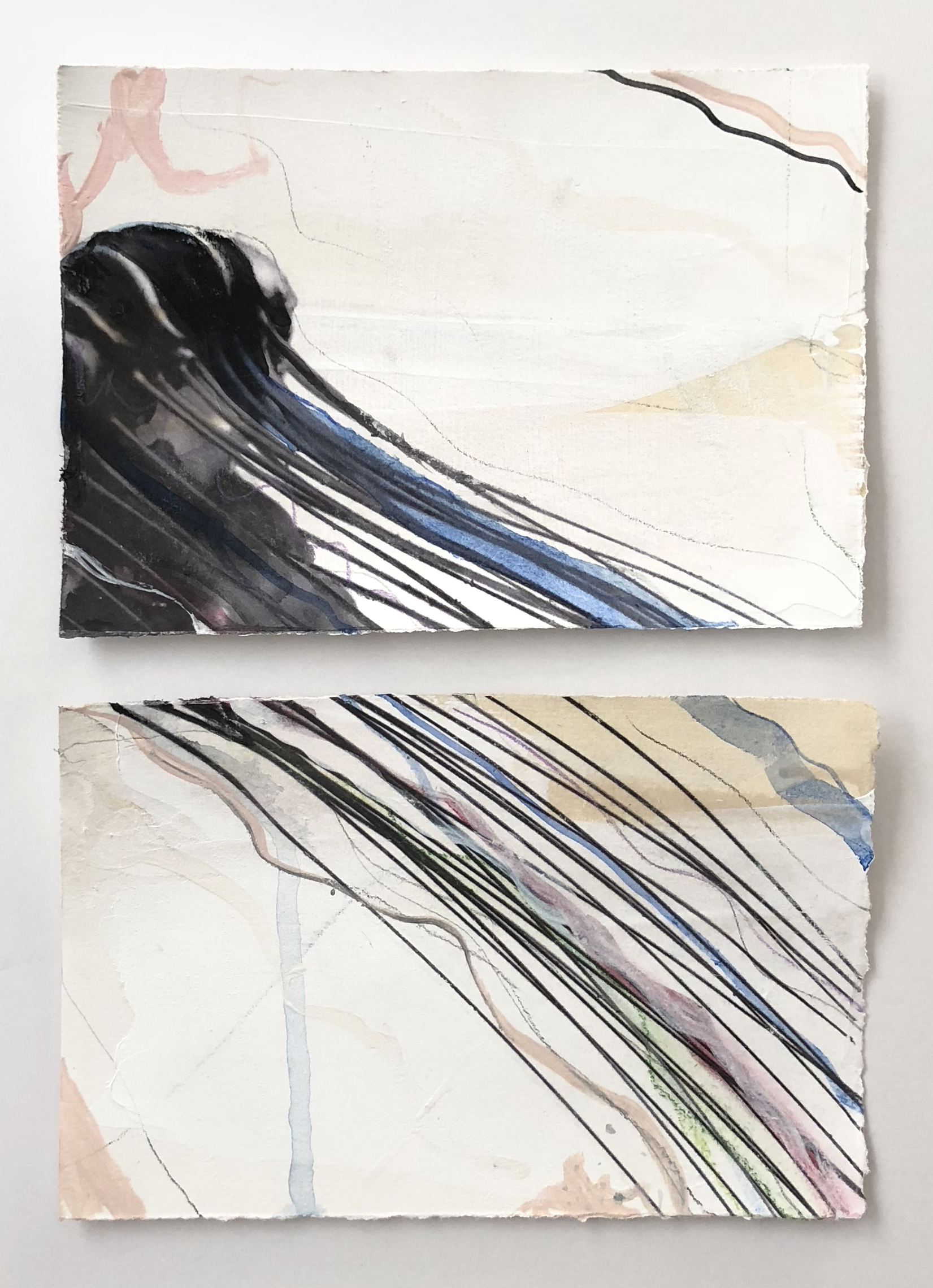 """""""Adrift I,"""" Diptych    Mixed Media on Paper, SOLD"""