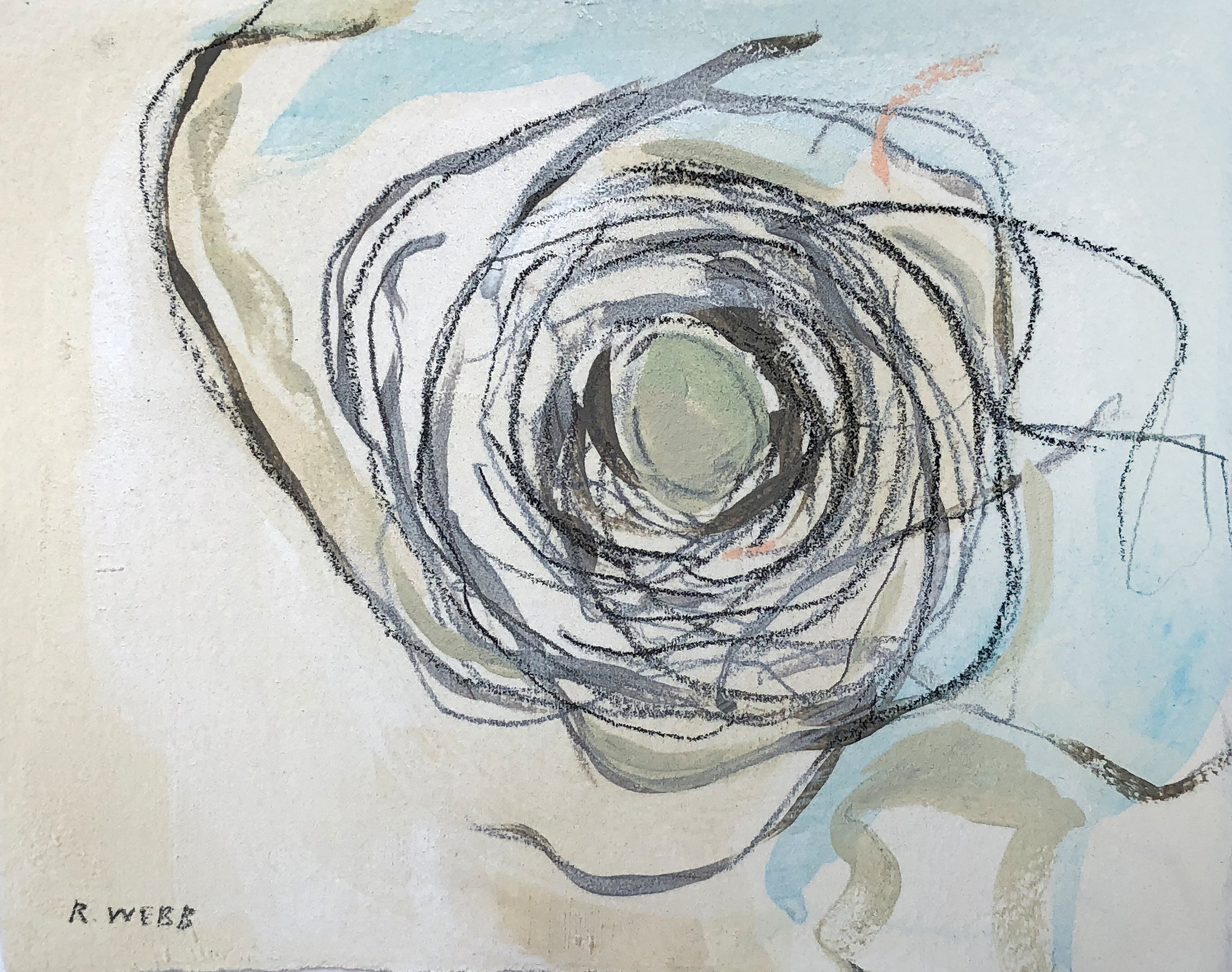 """Nesting"" series    Acrylic, graphite and pastels on paper, Nests all vary in series (5x7"" - 7x7""), available at Lyons Share Gallery"