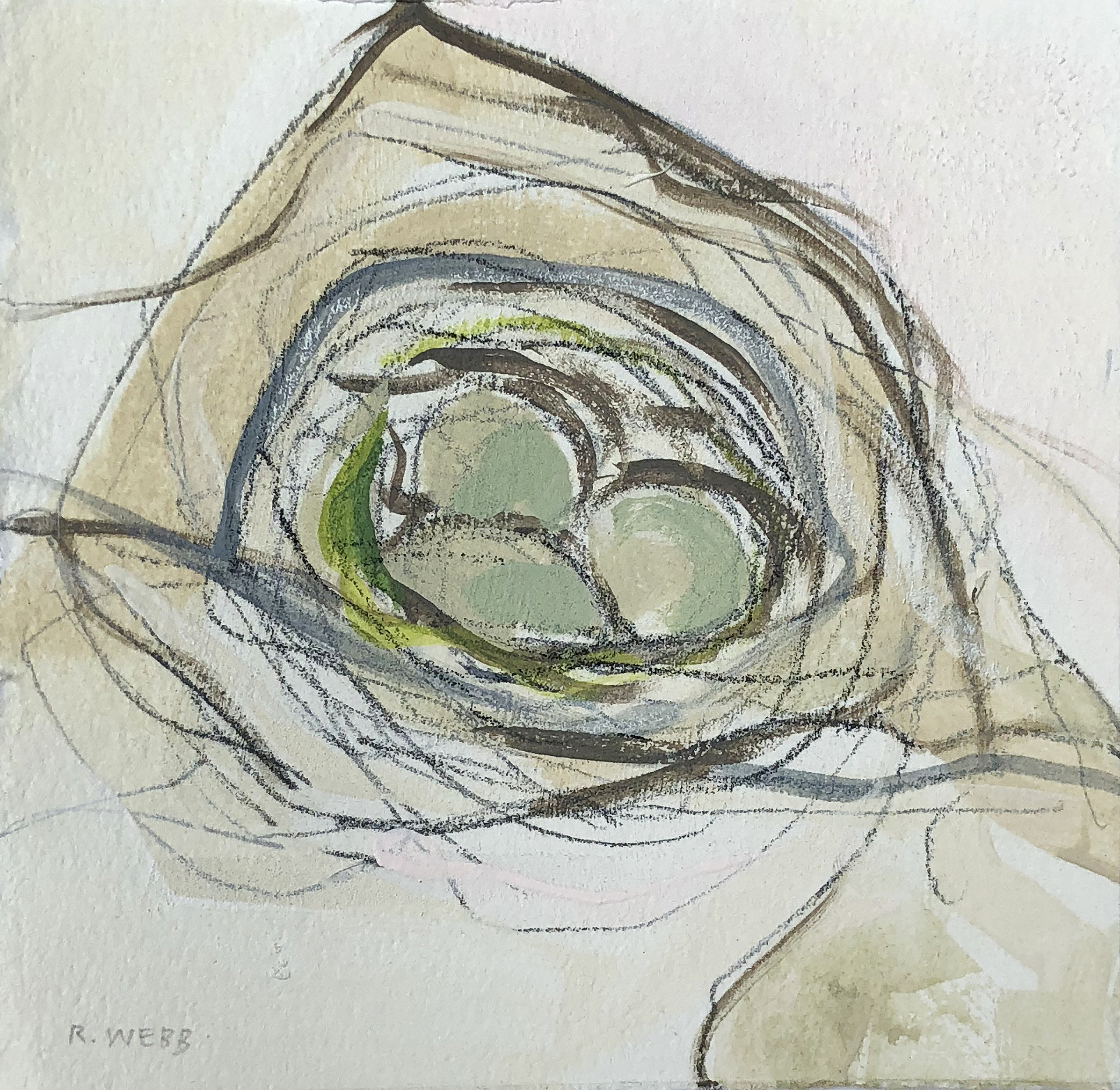 """Nesting"" series    Acrylic, graphite and pastels on paper, Nests all vary in series (5x7"" - 7x7""), SOLD"