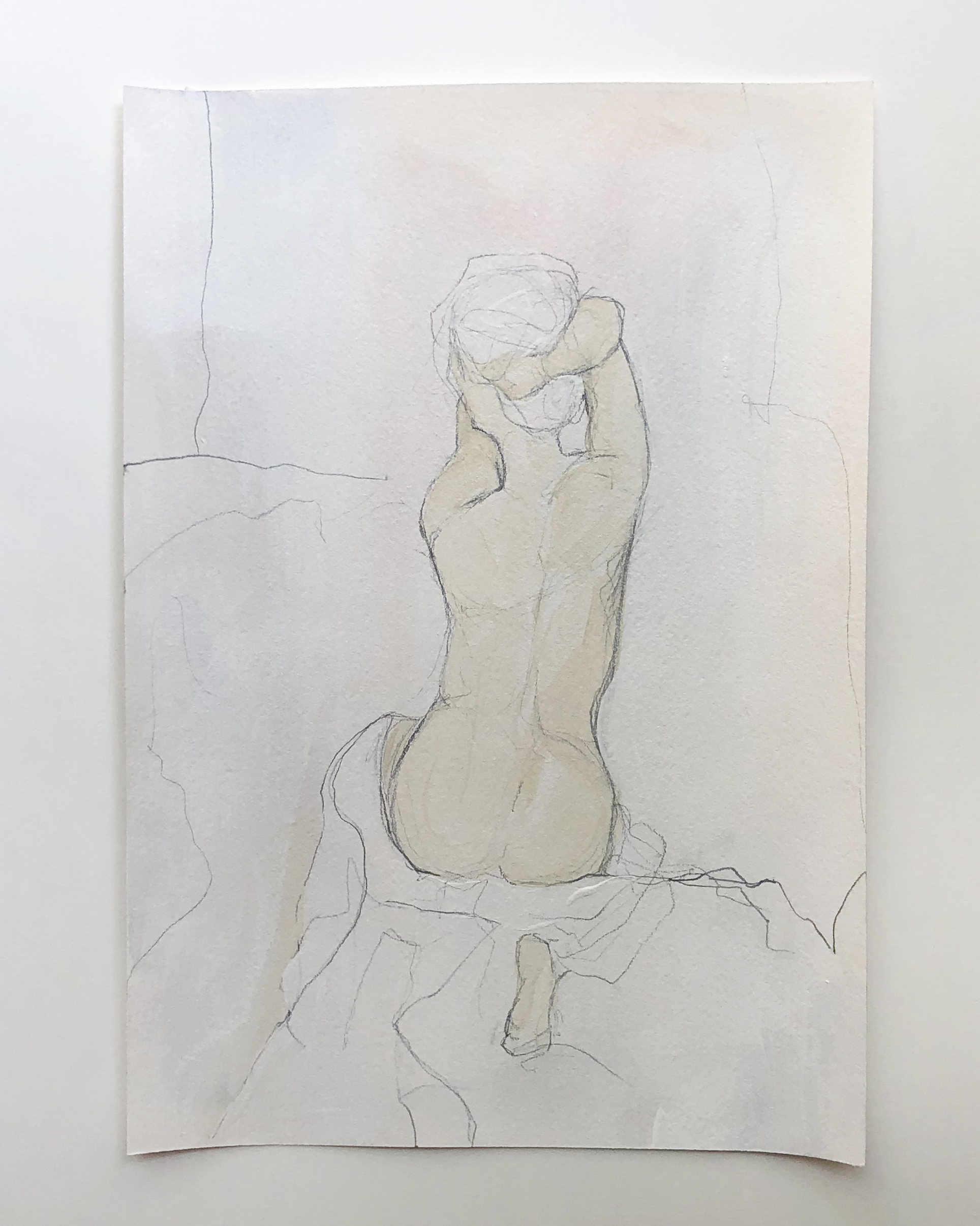 """""""Figure Study"""" series   $150 - Acrylic and graphite on archival paper / 8x11"""" / Available at Lyons Share Gallery"""