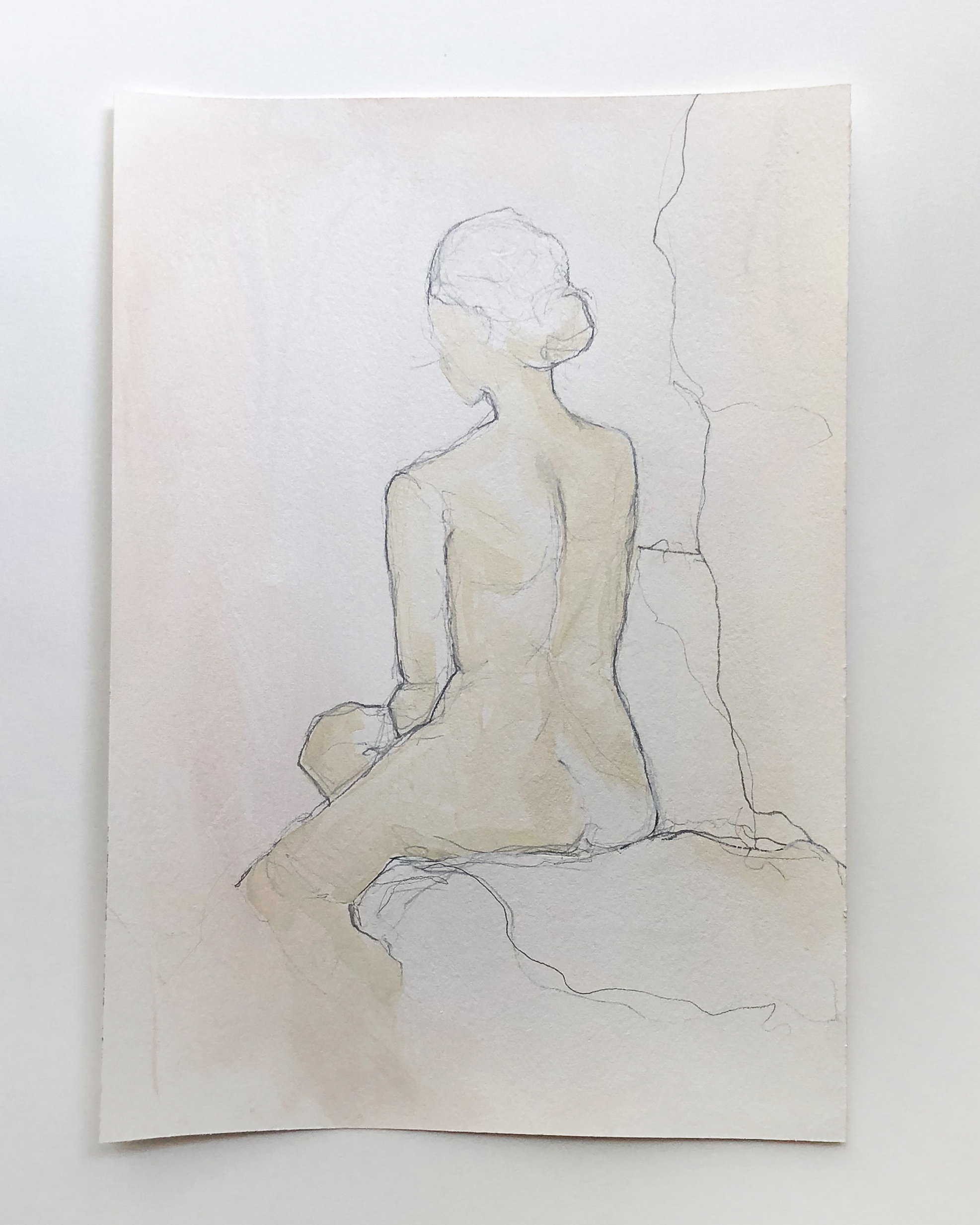 """""""Figure Study"""" series   Acrylic and graphite on archival paper / 8x11"""" / SOLD"""