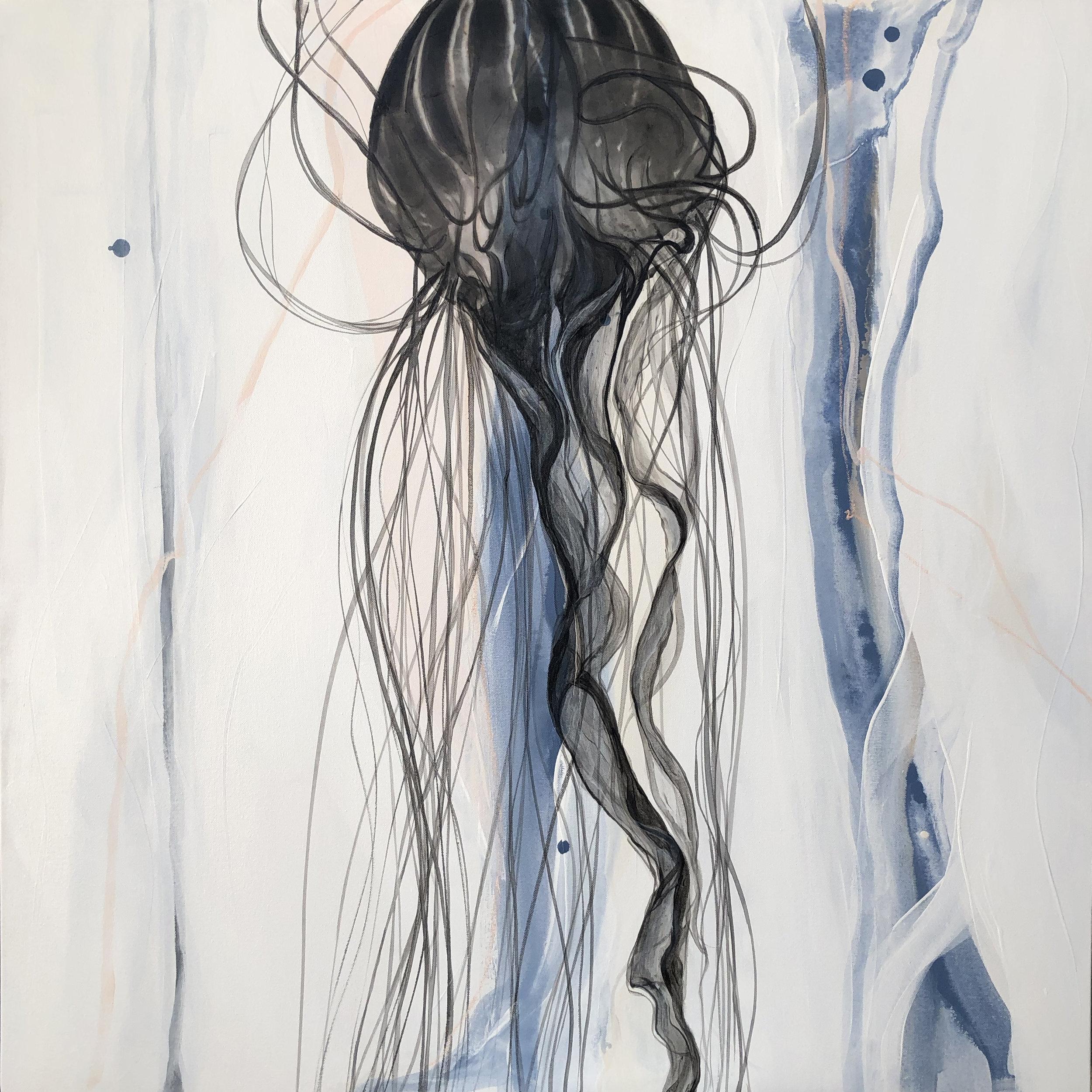 """Medusa""    Mixed Media on Canvas, 36x36x1.5,"" SOLD"