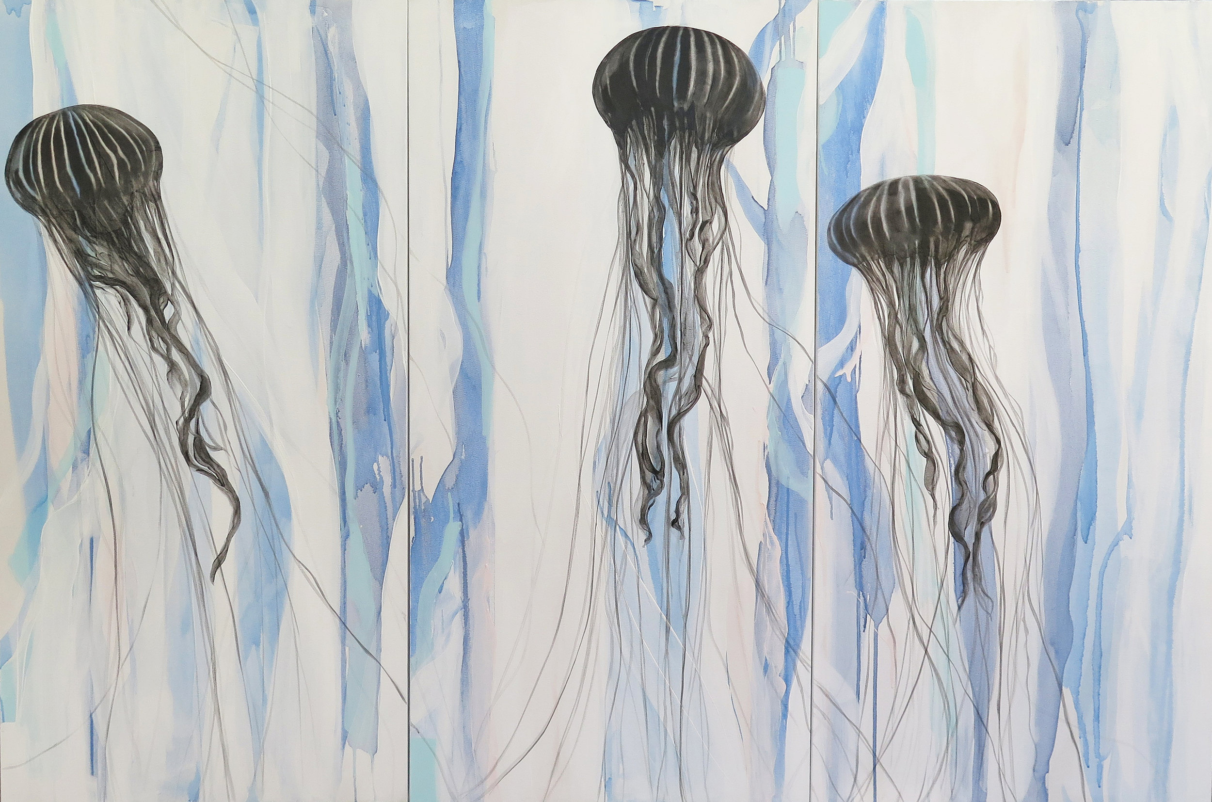 """""""Ascending"""" Triptych    Mixed Media on Canvas, 48x72x1.5,"""" AVAILABLE at    Gallery Vibe"""