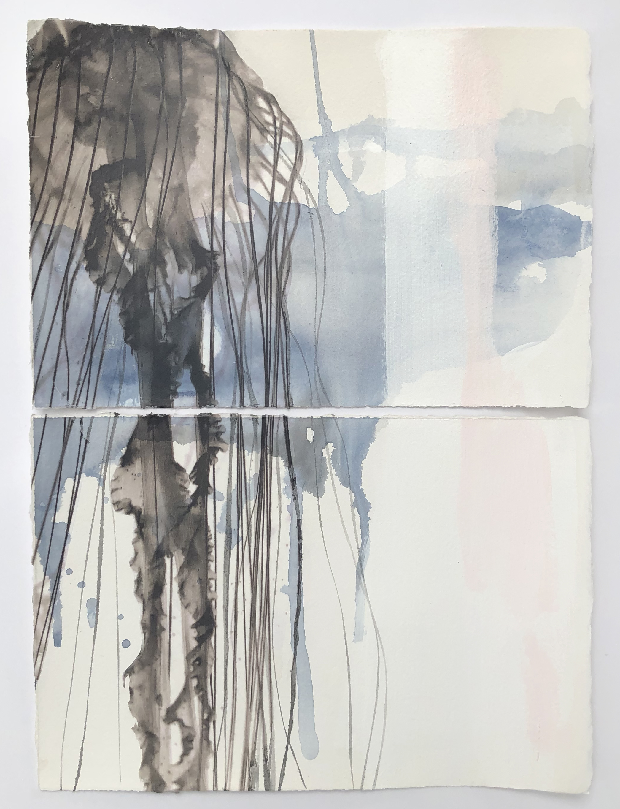 """""""Uplift,"""" Diptych    Mixed Media on Paper, framed, AVAILABLE in Studio"""
