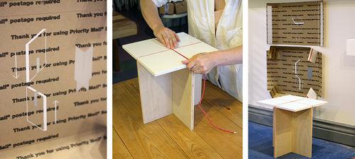 Appaloosa Shipping Stool  and it's instructional packaging by Patrick Gilbert