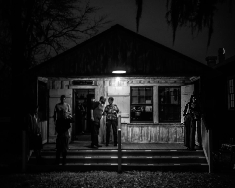 On the porch, house party Bayou Terre Aux Boeufs, 2016 St Bernard Parish, Louisiana.jpg