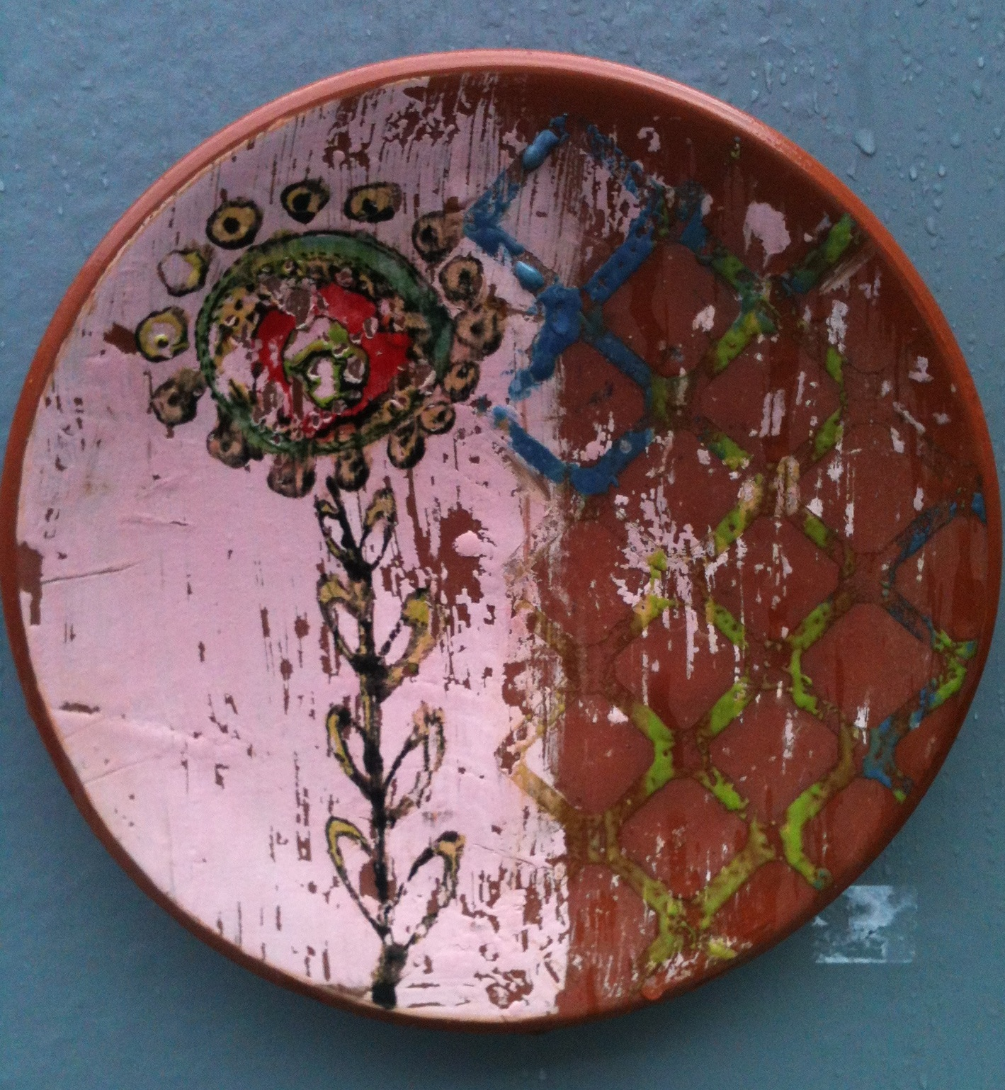 """Bloom"" Cone 2 Earthenware, thrown, underglaze transfer, 2014"