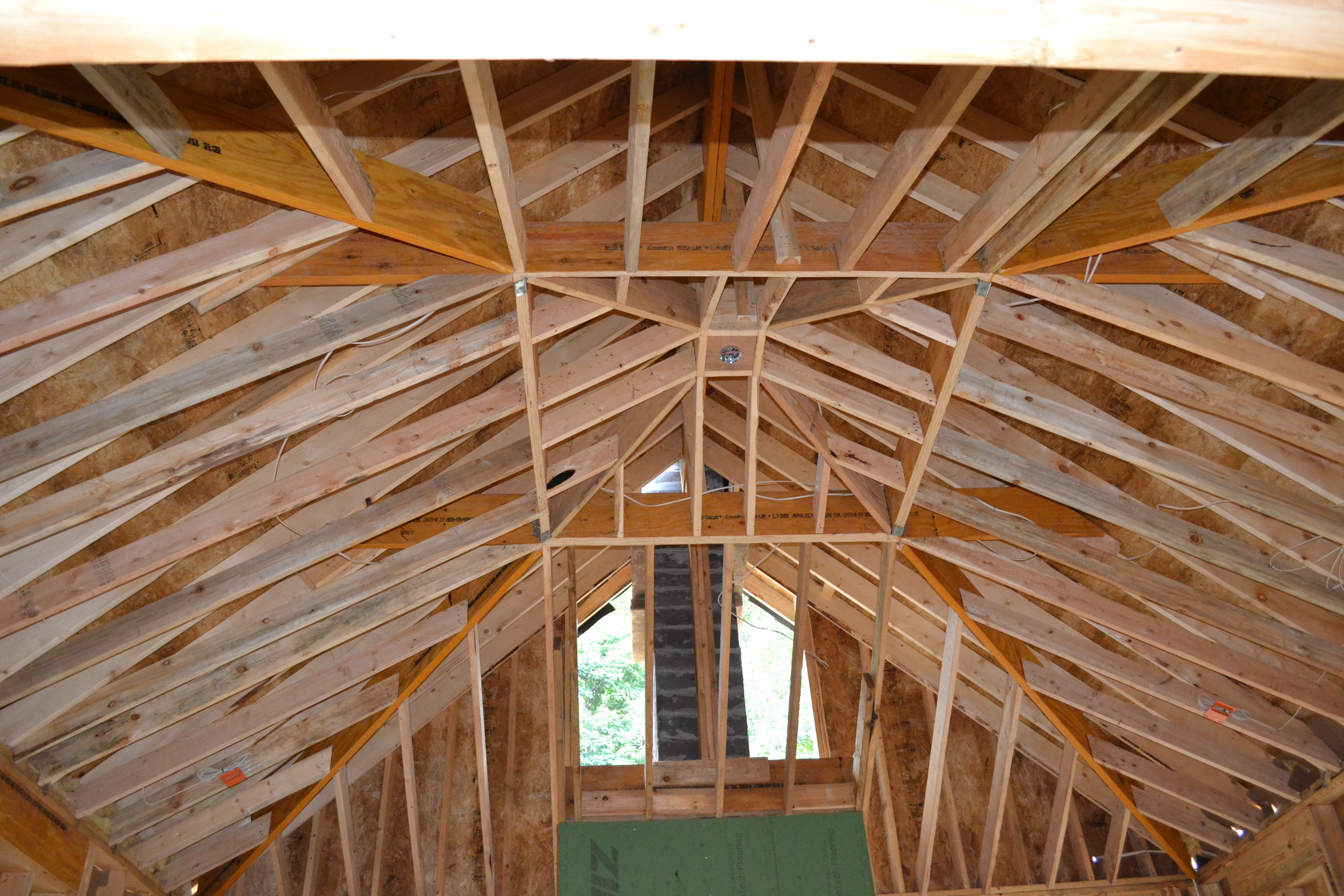 here's a great vaulted ceiling that is in the framing stage