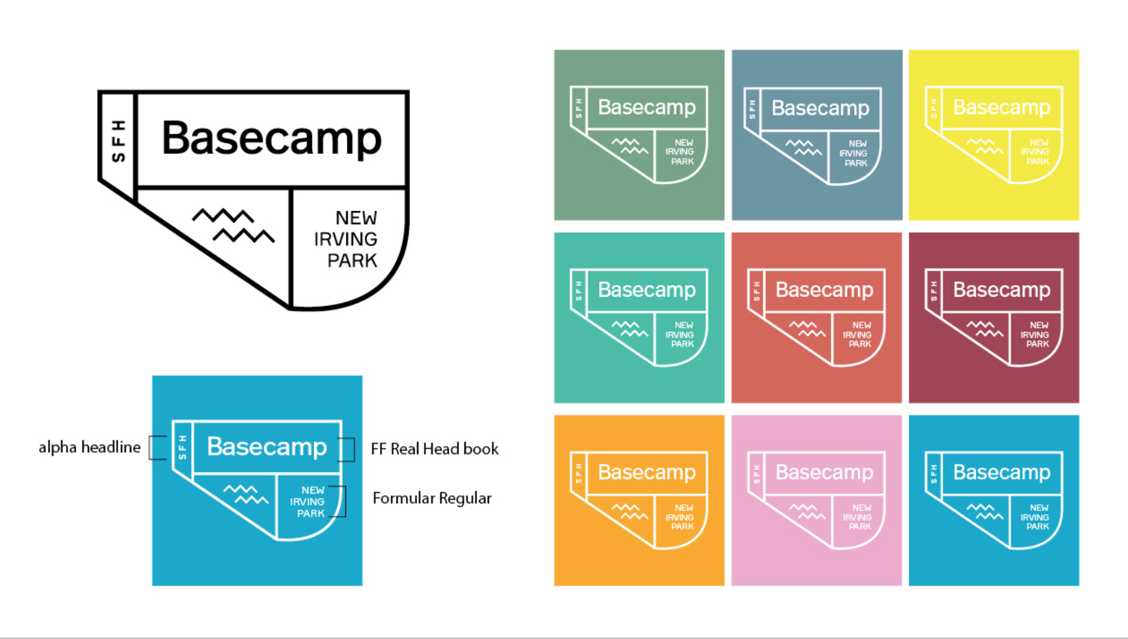 Final Logo + Color Variations. Fun fact: the new logo shape mimics the actual shape of the project site.