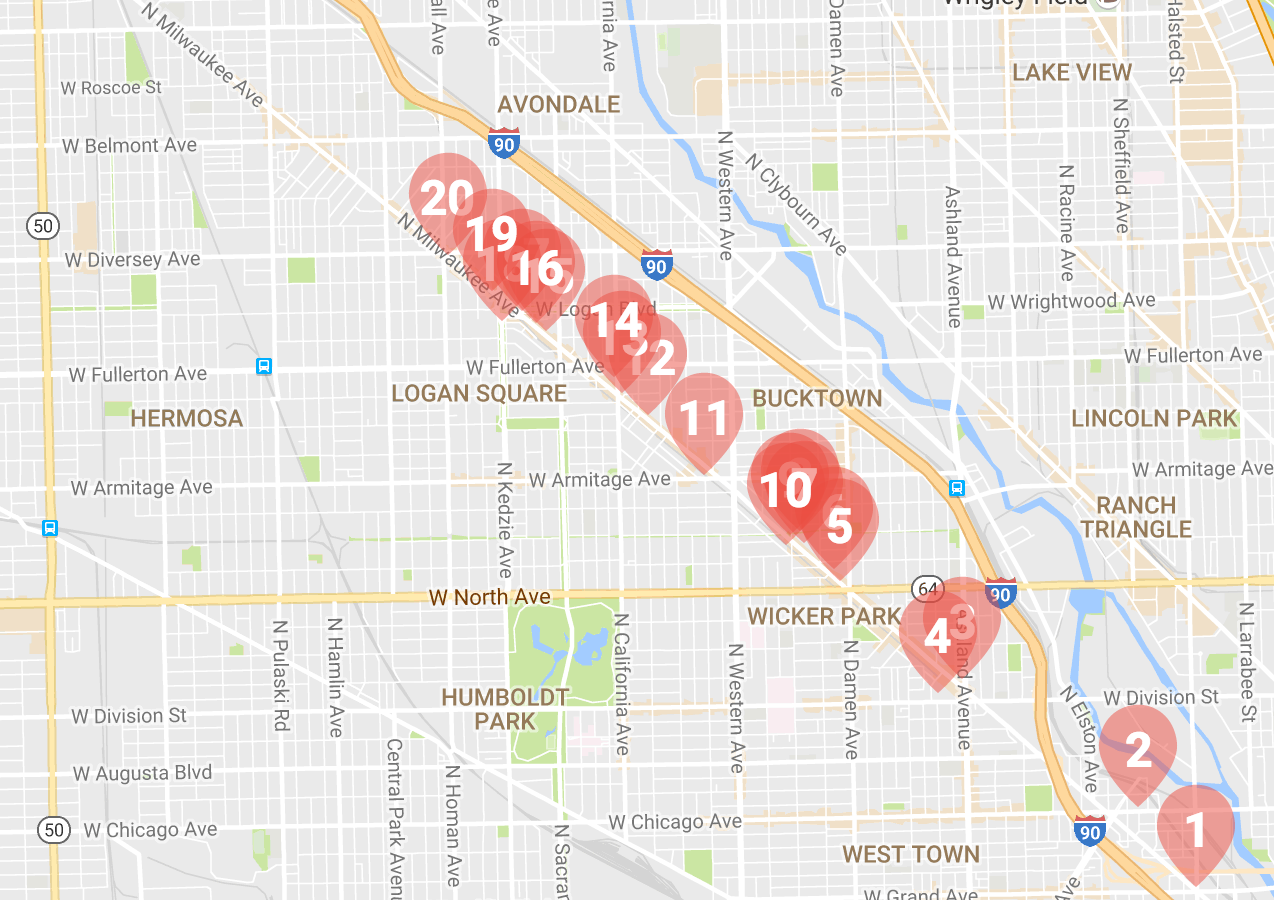 Projects happening now in Wicker Park, Bucktown and Logan Square.Source: Curbed Chicago