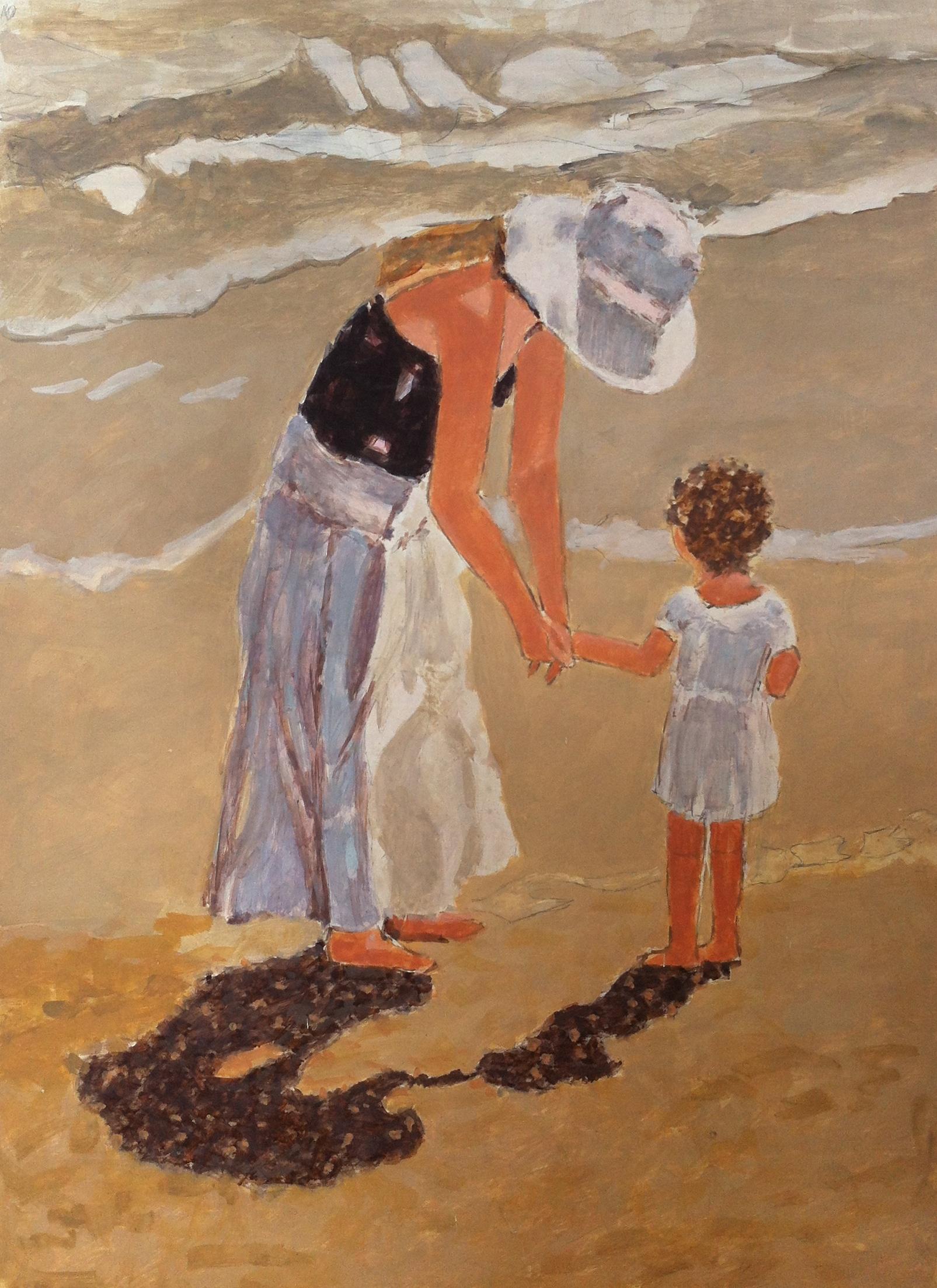 Madre con bambina su mare