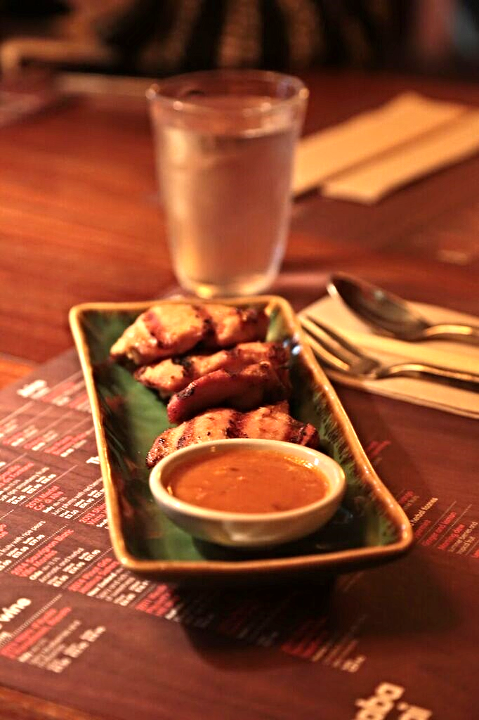 Chicken Satay, one of the restaurants many delicious small plates to start of the meal