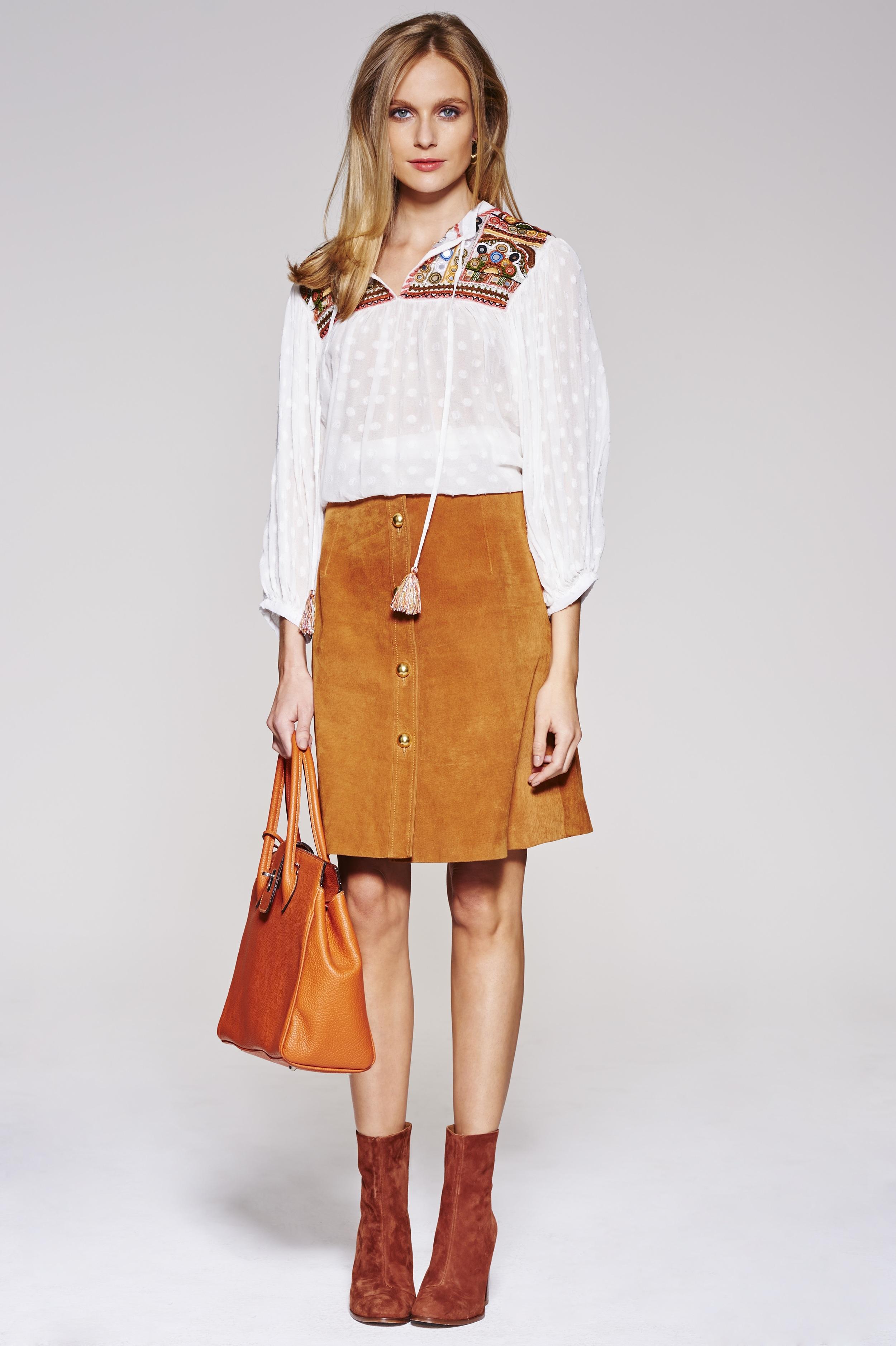 White top, £25.99,  Zara     Camel skirt, £75,  Simply Be     Orange Bag, £30,  TK Maxx