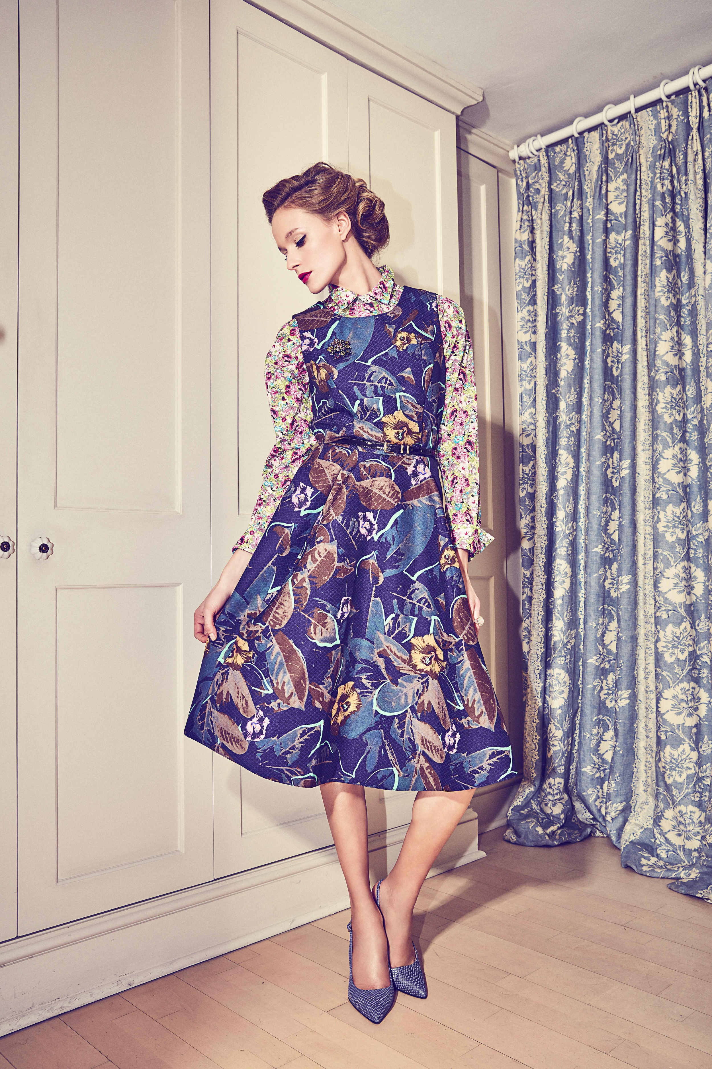Dress, £50.95,   Close  t; shirt £25.99,   Zara  ; shoes £99,   Jones