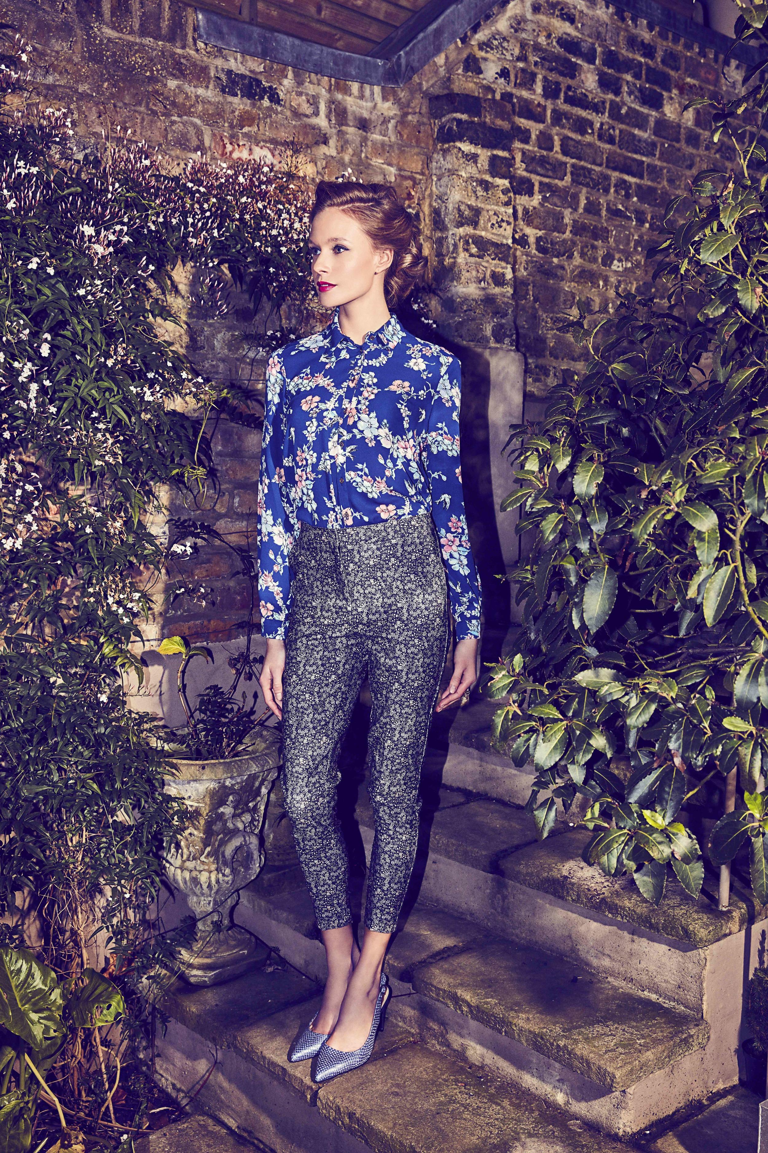 Shirt, £38,   Topshop  ; trousers, £19.99,   New Look  ;slingbacks, £99,     Jones   ; ring  £12,     Accessorize