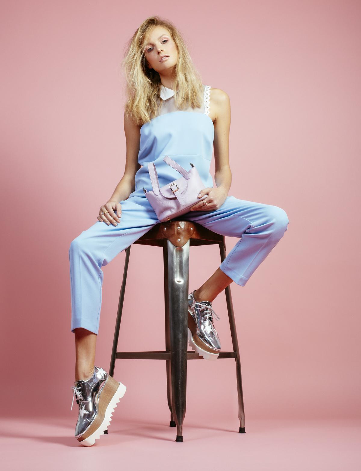 Pinko  top, £155,  Pinko  trousers, £170,  Meli Melo  Micro bag £315,  Stella McCartney  Platforms, £625