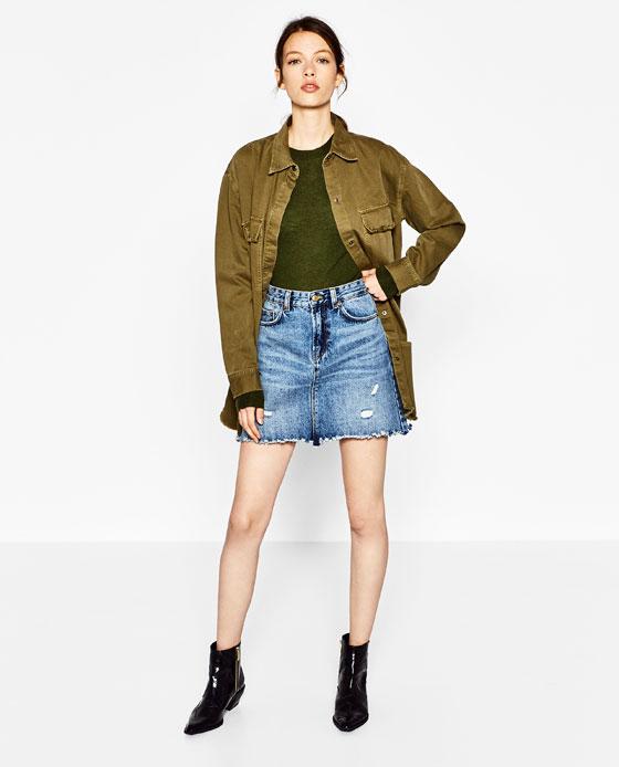 Frayed denim skirt from   Zara