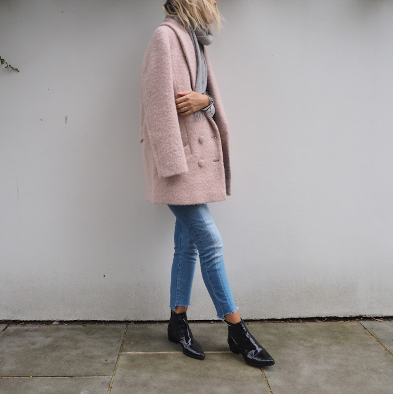 The Frugality   is wearing the coat in Rose