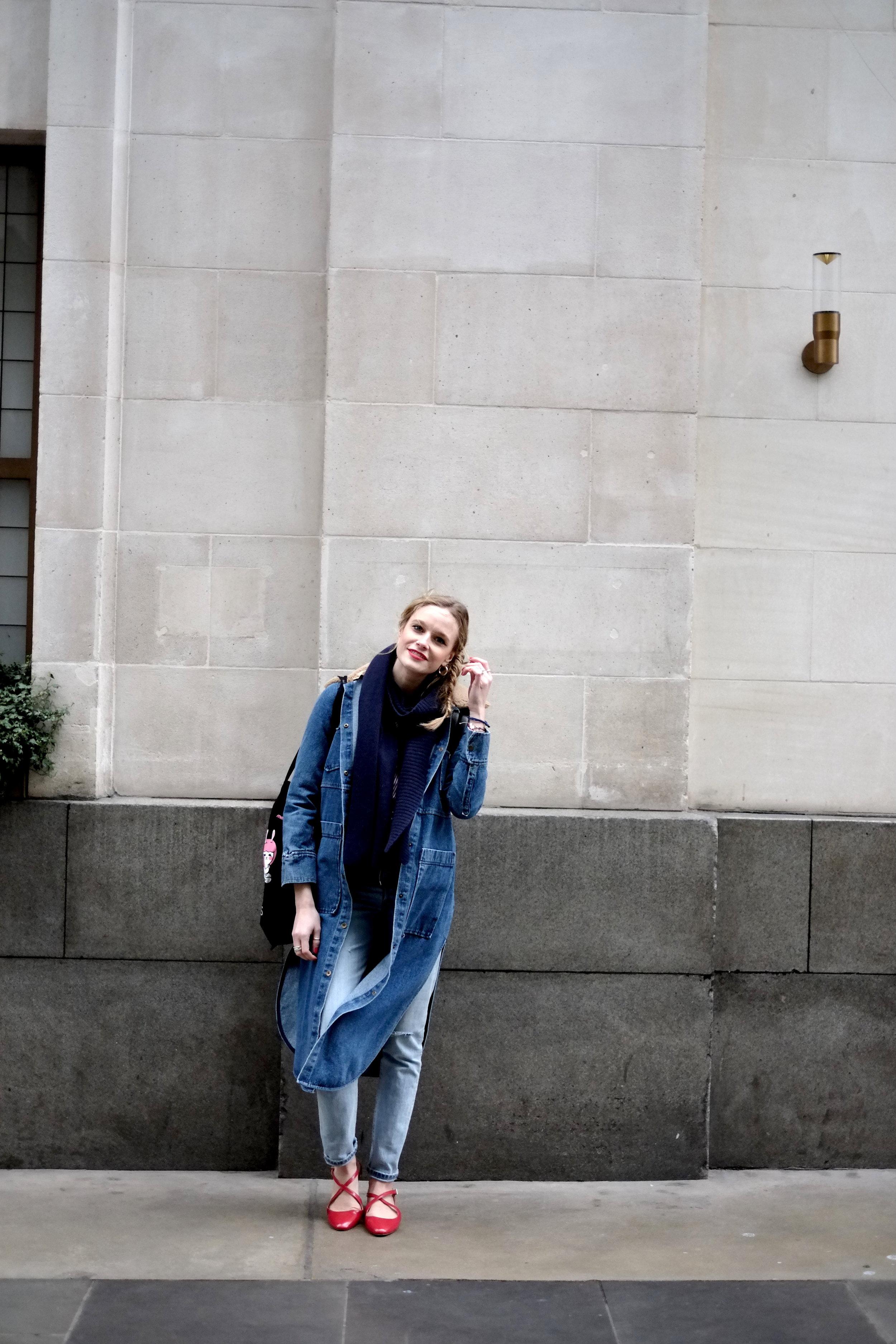 Denim coat by   Nanushka   , Levis 501, sandals Zara, Blouse Zara, Scarf and other stories