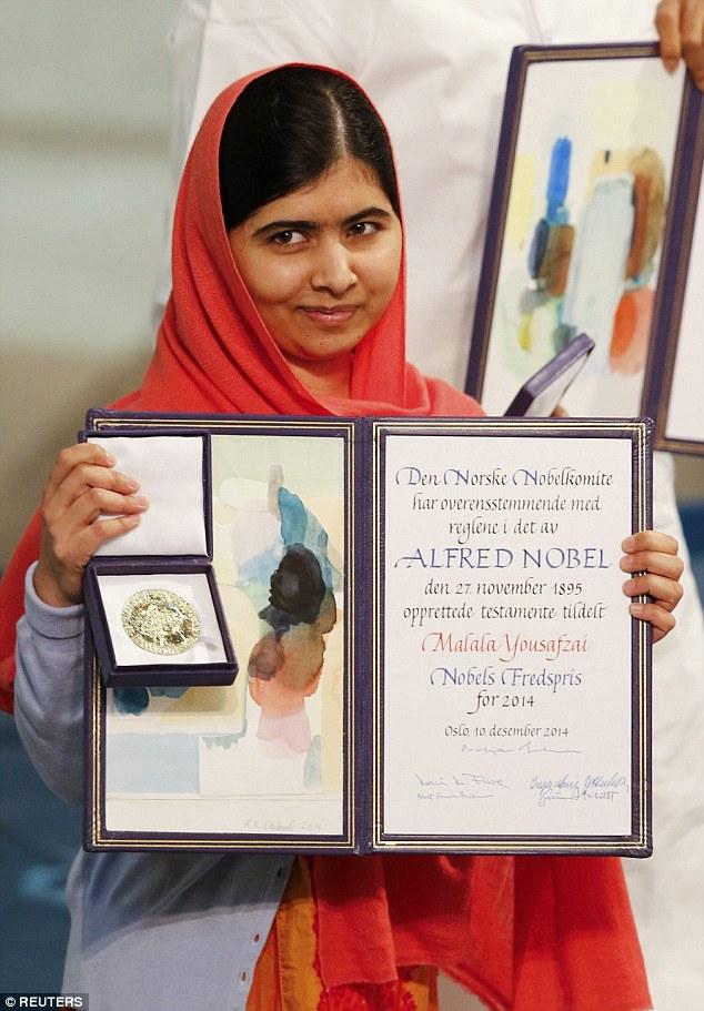 Malala Yousafzai winning the Nobel Peace Price in 2014, age 17.