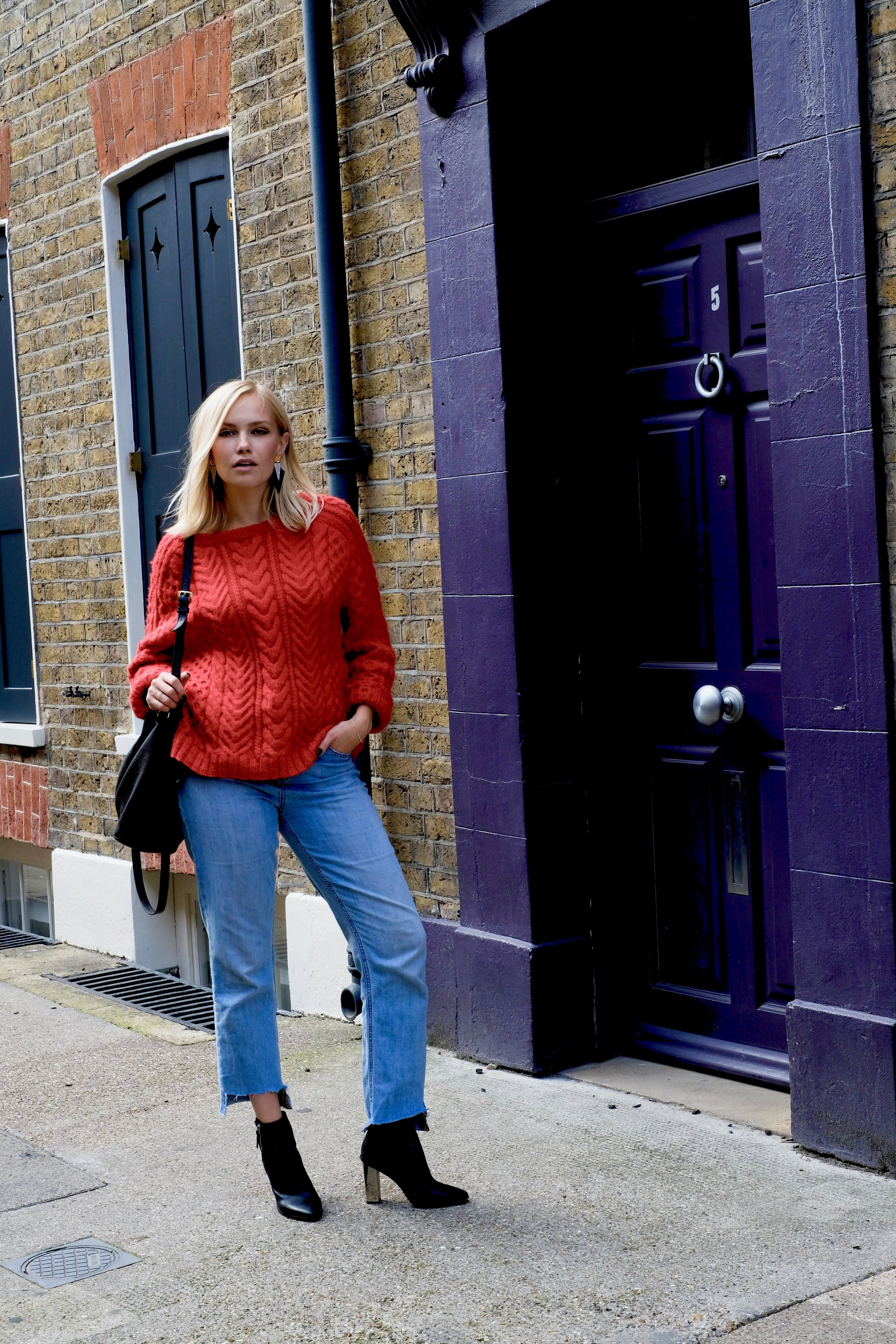 The jumper is hand knitted, and the pattern called Solveig and is from   Hanneli collection in collaboration with Sandnes Garn    The shoes are from     Aldo  , and the jeans are from   Noisy May