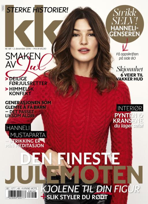 Hanneli Mustaparta wearing the Solveig jumper on the front cover og the Norwegian women magazine, KK.