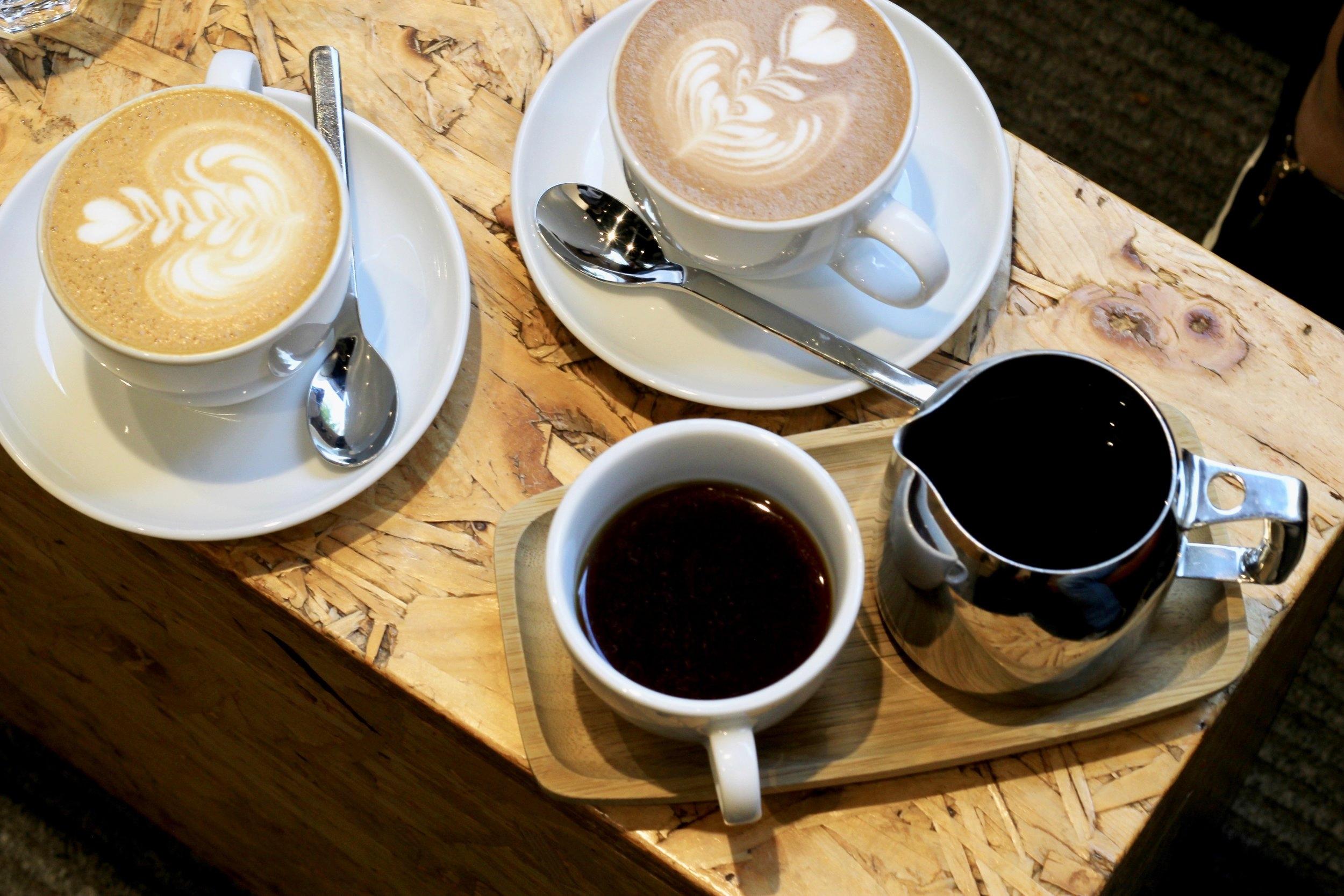 Latte, Mocha and filter coffee at   Workshop   Barrett Street, London.