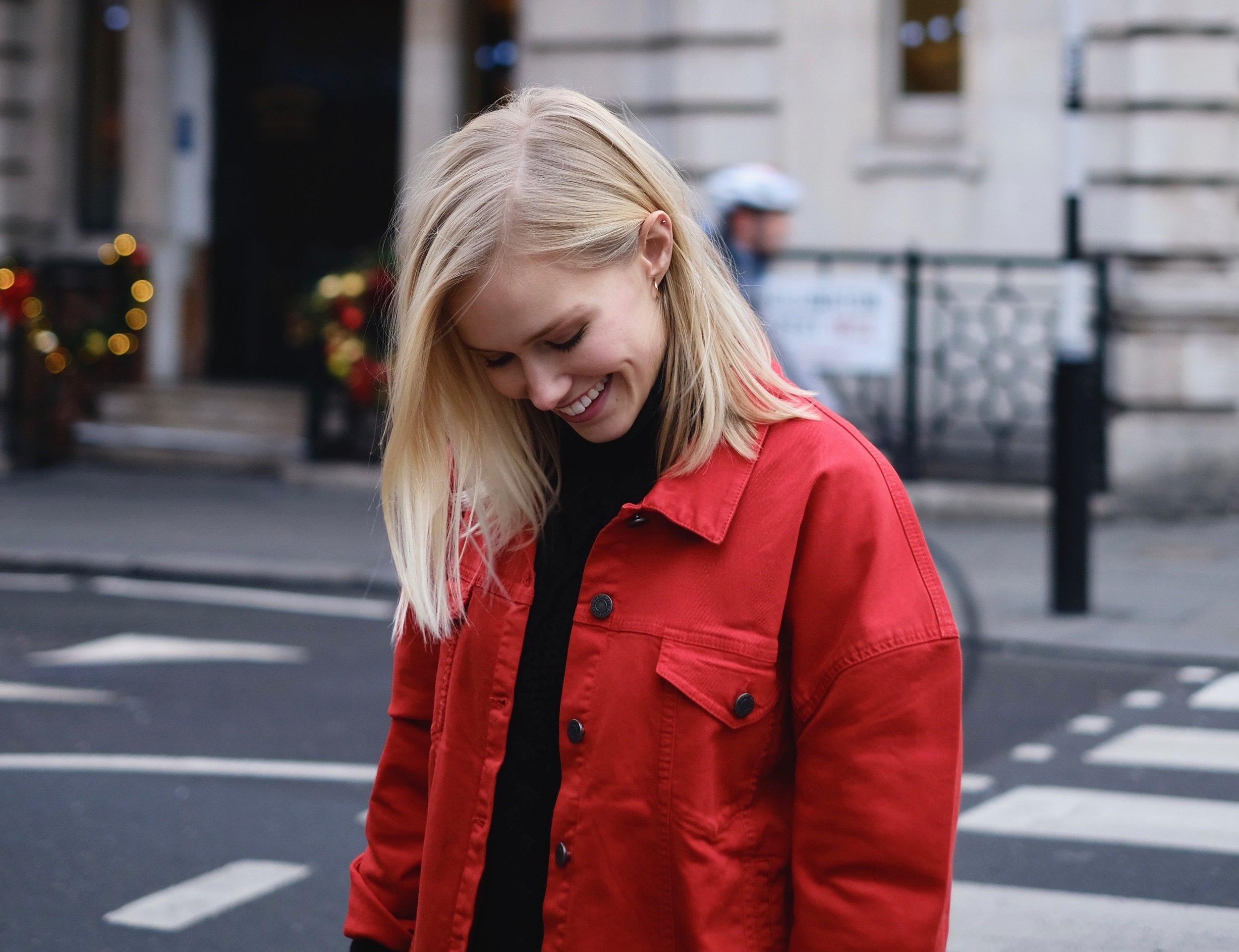 Red jean jacket from  Noisy May