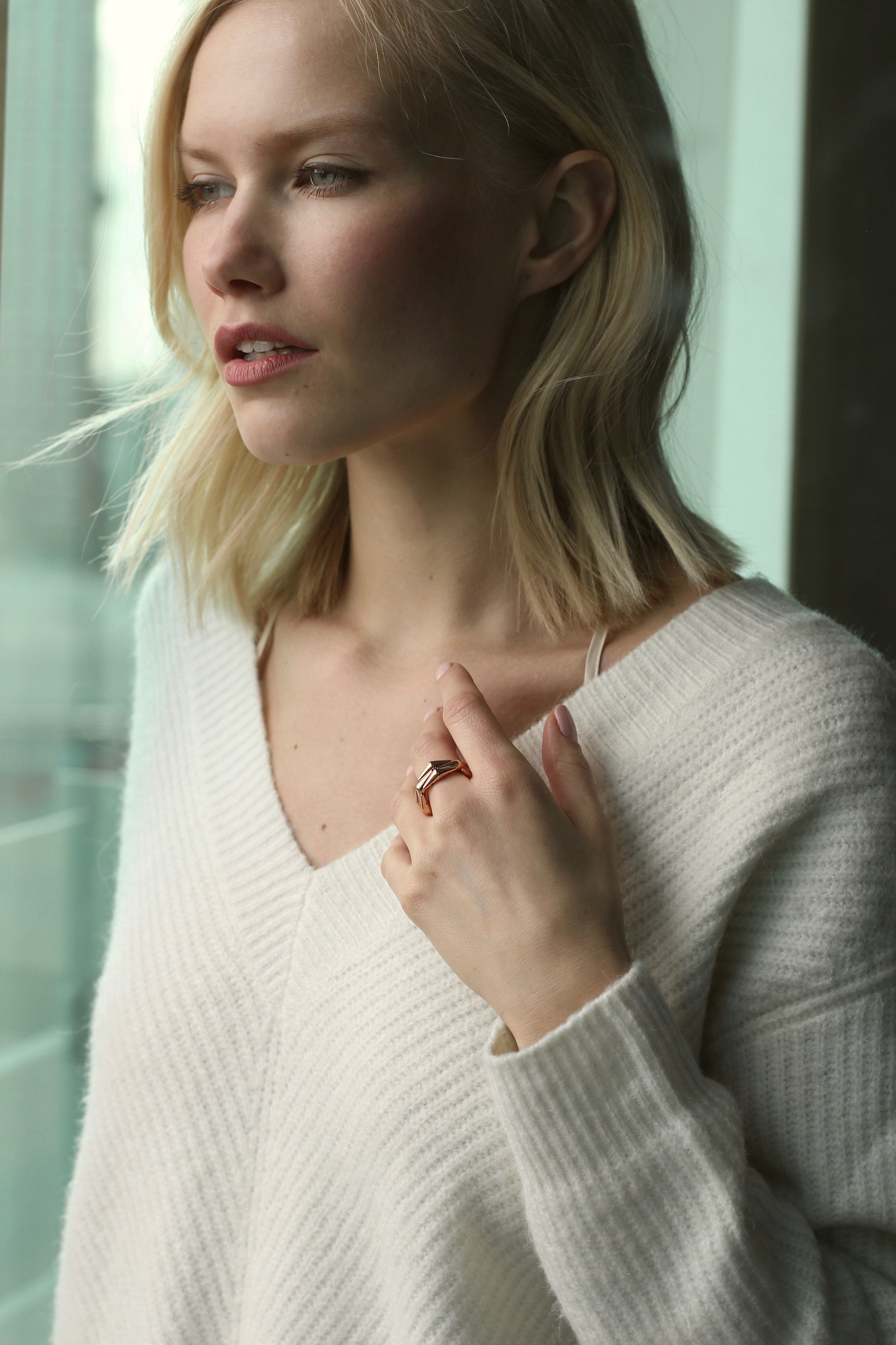 Sara is wearing a gorgeous Rose Gold plated ring from the   Georgiana collection.