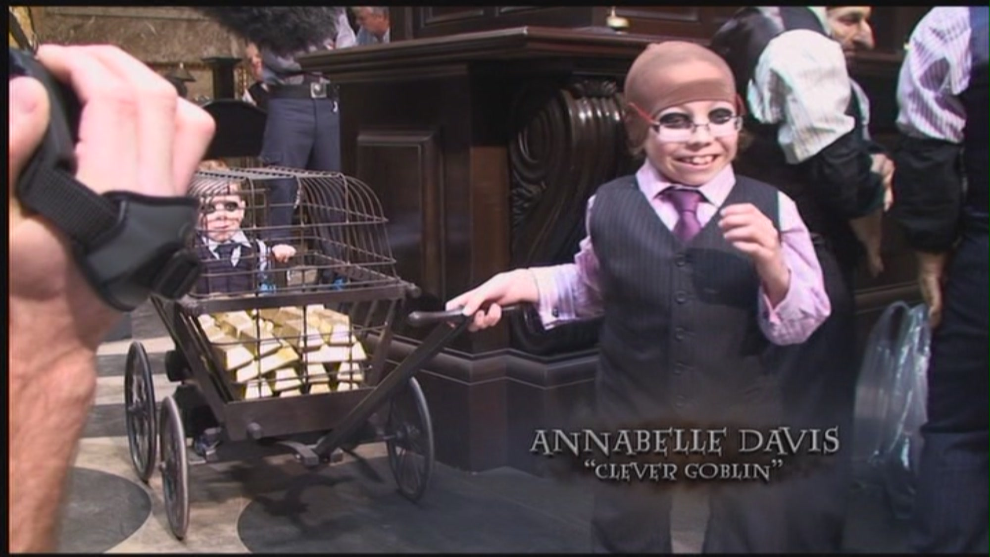 Here is me and and my brother Harrison on the set, in Gringotts bank.