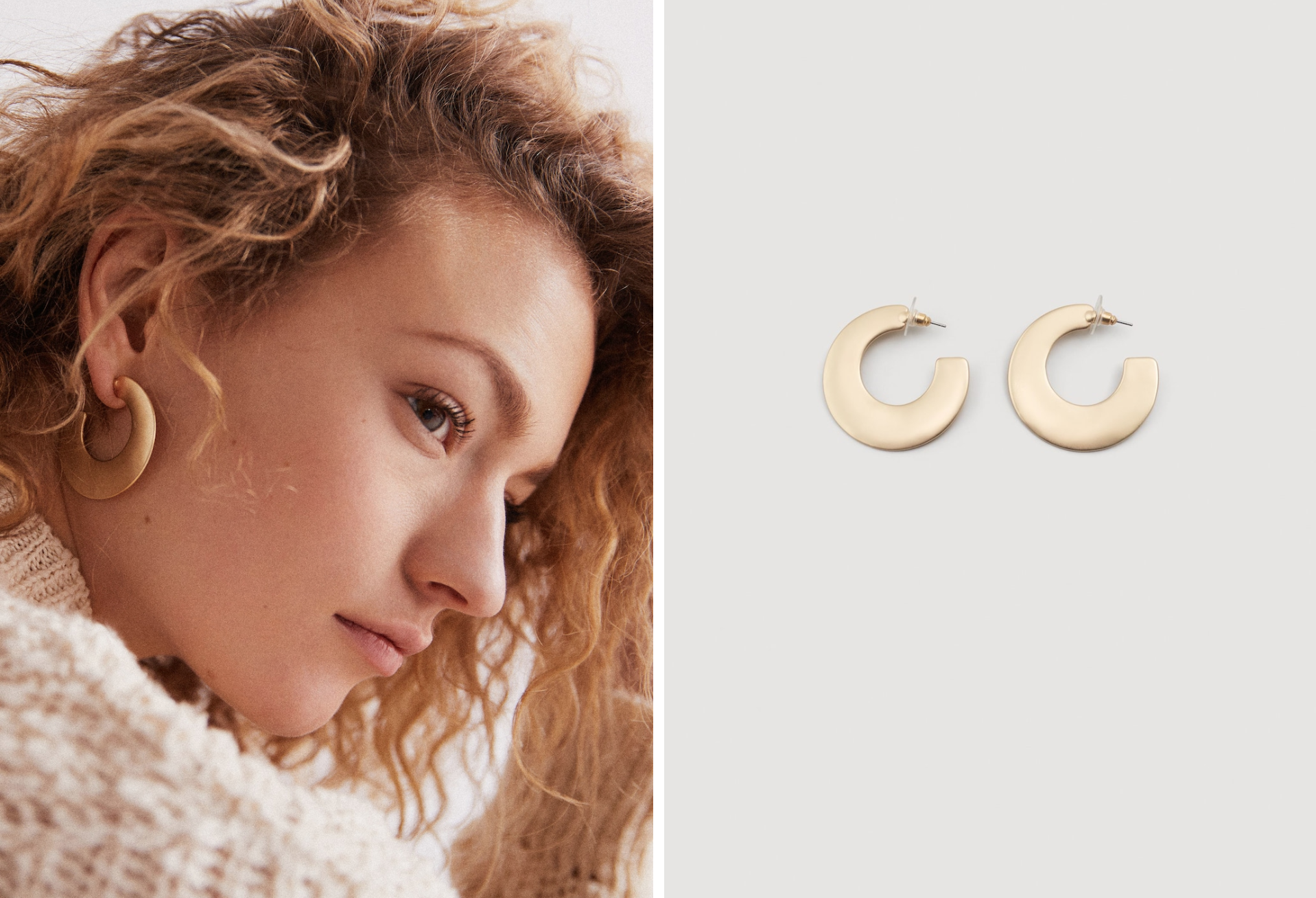 GoldMetallic hoop earrings - These simple Metallic hoop earrings are made of 100% steel and are the sort of earrings which you can combine with anything really. From a simple white T-Shirt to a dress. Find them from Mango here for only £6.99!